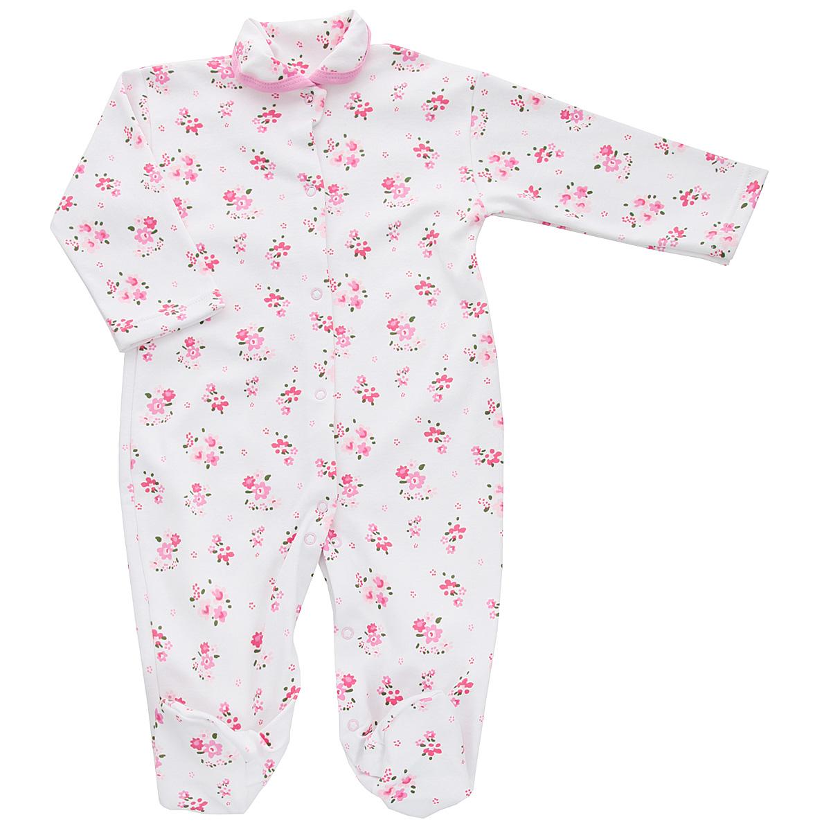 Комбинезон для девочки Трон-плюс, цвет: белый, розовый. 5815_цветы. Размер 56, 1 месяц5815_цветыКомбинезон для девочки Трон-Плюс - очень удобный и практичный вид одежды для малышей. Комбинезон выполнен из интерлока - натурального хлопка, благодаря чему он необычайно мягкий и приятный на ощупь, не раздражает нежную кожу ребенка, и хорошо вентилируются, а эластичные швы приятны телу малышки и не препятствуют ее движениям. Комбинезон с длинными рукавами, закрытыми ножками и отложным воротничком имеет застежки-кнопки от горловины до щиколоток, которые помогают легко переодеть младенца или сменить подгузник. Воротник по краю дополнен контрастной бейкой. Оформлено изделие ненавязчивым цветочным принтом. С детским комбинезоном спинка и ножки вашей малышки всегда будут в тепле, он идеален для использования днем и незаменим ночью. Комбинезон полностью соответствует особенностям жизни младенца в ранний период, не стесняя и не ограничивая его в движениях!