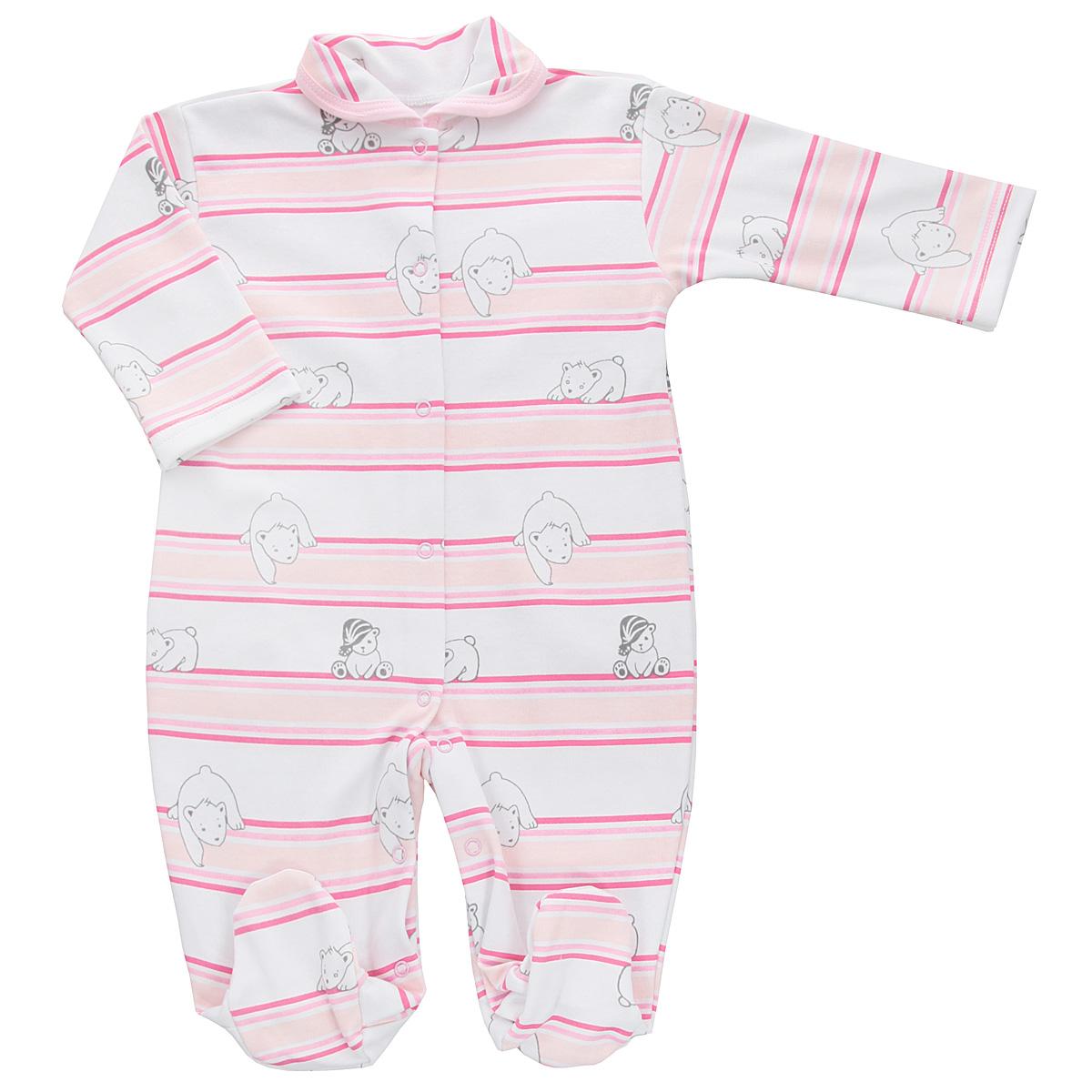 Комбинезон детский Трон-плюс, цвет: белый, розовый. 5815_мишка, полоска. Размер 74, 9 месяцев5815_мишка, полоскаДетский комбинезон Трон-Плюс - очень удобный и практичный вид одежды для малышей. Комбинезон выполнен из интерлока - натурального хлопка, благодаря чему он необычайно мягкий и приятный на ощупь, не раздражает нежную кожу ребенка, и хорошо вентилируются, а эластичные швы приятны телу младенца и не препятствуют его движениям. Комбинезон с длинными рукавами, закрытыми ножками и отложным воротничком имеет застежки-кнопки от горловины до щиколоток, которые помогают легко переодеть ребенка или сменить подгузник. Воротник по краю дополнен контрастной бейкой. Оформлено изделие принтом в полоску, а также изображениями медвежат. С детским комбинезоном спинка и ножки вашего крохи всегда будут в тепле, он идеален для использования днем и незаменим ночью. Комбинезон полностью соответствует особенностям жизни младенца в ранний период, не стесняя и не ограничивая его в движениях!
