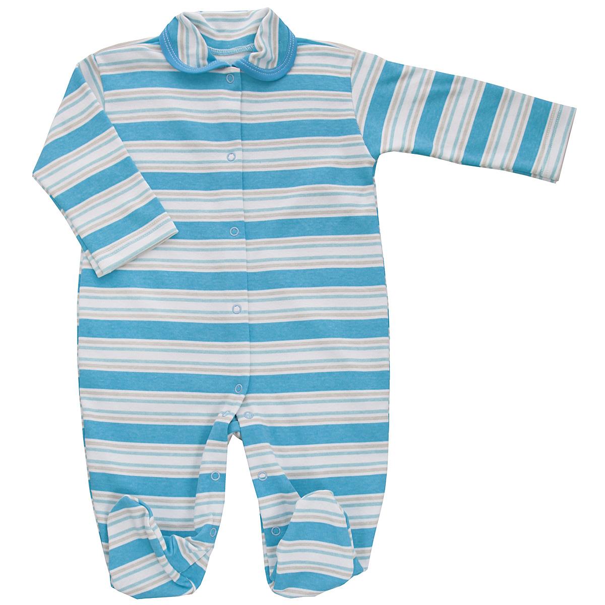 Комбинезон детский Трон-плюс, цвет: голубой, белый, светло-бежевый. 5815_полоска. Размер 56, 1 месяц5815_полоскаДетский комбинезон Трон-Плюс - очень удобный и практичный вид одежды для малышей. Комбинезон выполнен из интерлока - натурального хлопка, благодаря чему он необычайно мягкий и приятный на ощупь, не раздражает нежную кожу ребенка, и хорошо вентилируются, а эластичные швы приятны телу младенца и не препятствуют его движениям. Комбинезон с длинными рукавами, закрытыми ножками и отложным воротничком имеет застежки-кнопки от горловины до щиколоток, которые помогают легко переодеть ребенка или сменить подгузник. Воротник по краю дополнен контрастной бейкой. Оформлено изделие принтом в полоску. С детским комбинезоном спинка и ножки вашего крохи всегда будут в тепле, он идеален для использования днем и незаменим ночью. Комбинезон полностью соответствует особенностям жизни младенца в ранний период, не стесняя и не ограничивая его в движениях!