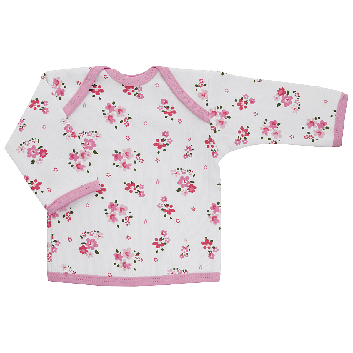 Футболка с длинным рукавом для девочки Трон-плюс, цвет: белый, розовый. 5611_цветы. Размер 80, 12 месяцев