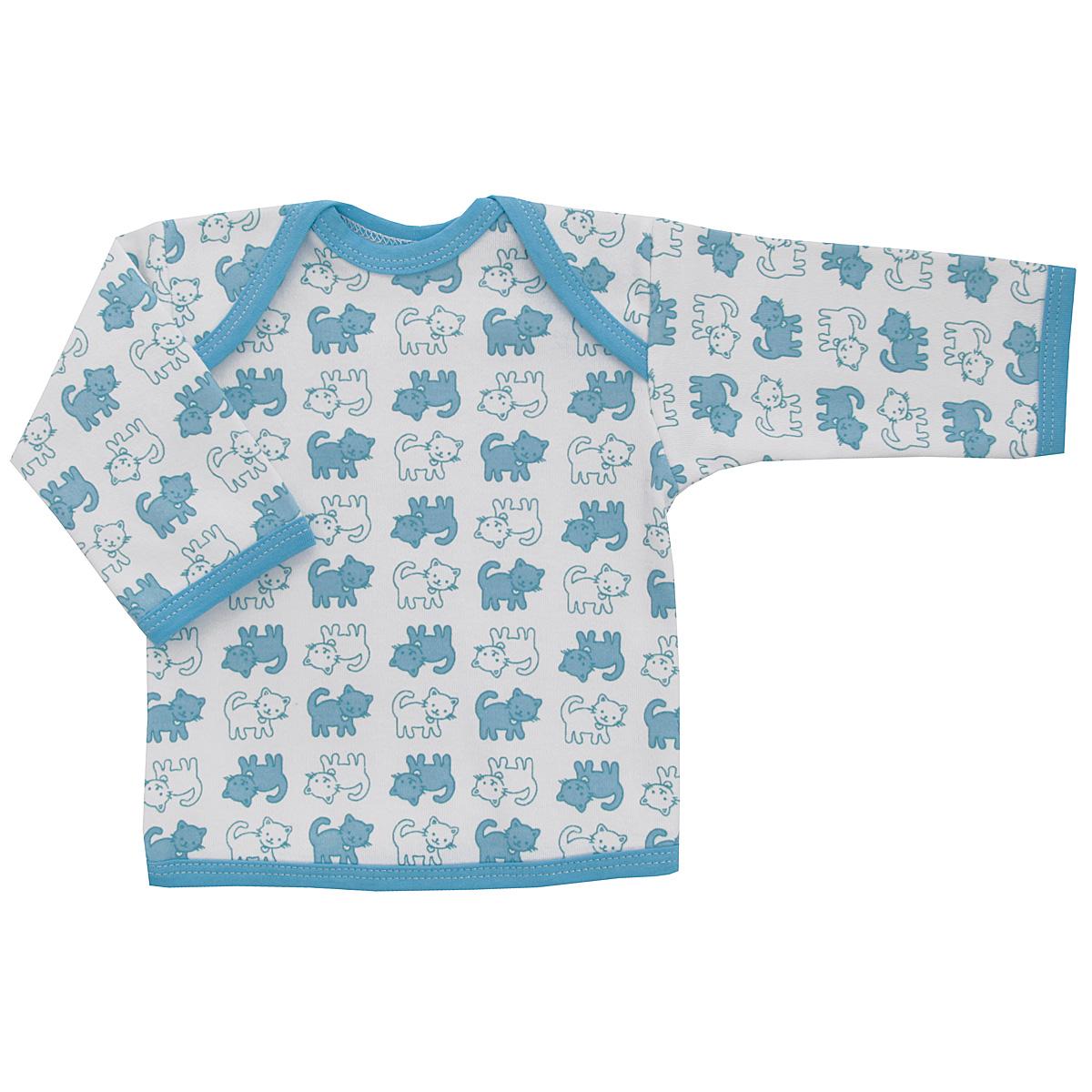 Футболка с длинным рукавом детская Трон-плюс, цвет: белый, голубой. 5611_котенок. Размер 74, 9 месяцев5611_котенокУдобная детская футболка Трон-плюс с длинными рукавами послужит идеальным дополнением к гардеробу вашего ребенка, обеспечивая ему наибольший комфорт. Изготовленная из интерлока - натурального хлопка, она необычайно мягкая и легкая, не раздражает нежную кожу ребенка и хорошо вентилируется, а эластичные швы приятны телу ребенка и не препятствуют его движениям. Удобные запахи на плечах помогают легко переодеть младенца. Горловина, низ модели и низ рукавов дополнены трикотажной бейкой. Спинка модели незначительно укорочена. Оформлено изделие принтом с изображениями котенка. Футболка полностью соответствует особенностям жизни ребенка в ранний период, не стесняя и не ограничивая его в движениях.