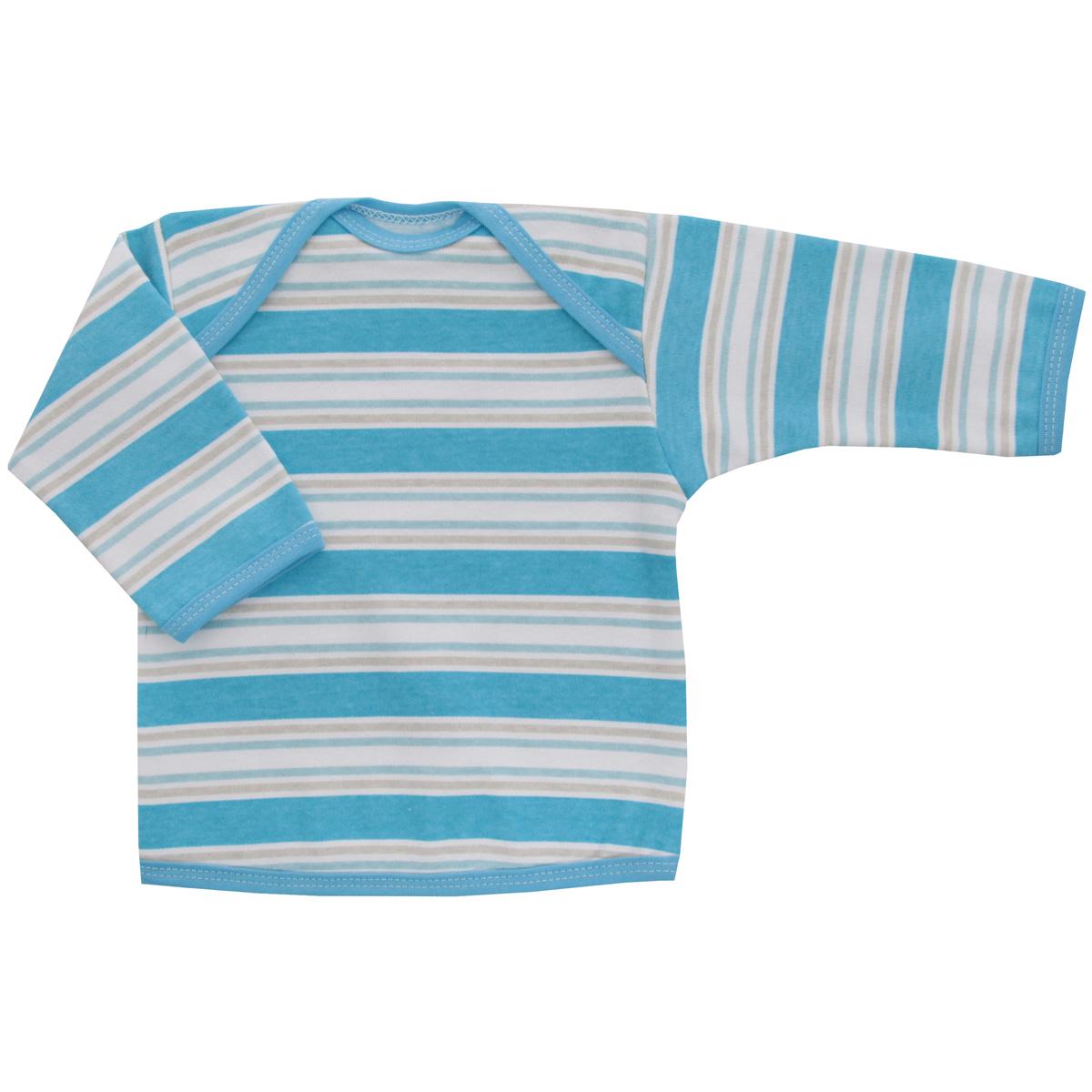 Футболка с длинным рукавом детская Трон-плюс, цвет: голубой, белый. 5611_полоска. Размер 80, 12 месяцев5611_полоскаУдобная детская футболка Трон-плюс с длинными рукавами послужит идеальным дополнением к гардеробу вашего ребенка, обеспечивая ему наибольший комфорт. Изготовленная из интерлока - натурального хлопка, она необычайно мягкая и легкая, не раздражает нежную кожу ребенка и хорошо вентилируется, а эластичные швы приятны телу ребенка и не препятствуют его движениям. Удобные запахи на плечах помогают легко переодеть младенца. Горловина, низ модели и низ рукавов дополнены трикотажной бейкой. Спинка модели незначительно укорочена. Оформлено изделие принтом в полоску. Футболка полностью соответствует особенностям жизни ребенка в ранний период, не стесняя и не ограничивая его в движениях.