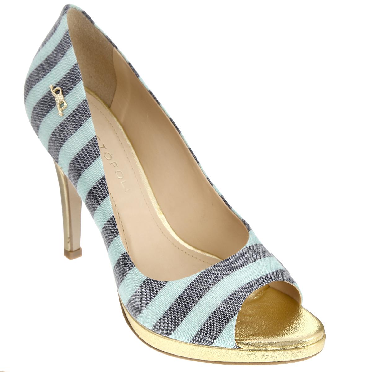 Туфли женские Cristofoli, цвет: мятный. 150413. Размер BRA 38 (39)150413Изысканные женские туфли от Cristofoli займут достойное место среди вашей коллекции обуви.Модель изготовлена из плотного высококачественного текстиля и оформлена узором в полоску. Сбоку изделие украшено декоративным элементом в виде бантика, выполненного из металла. Открытый носок добавит женственные нотки в ваш образ. Подкладка и стелька из натуральной кожи обеспечивают комфорт при движении. Ультравысокий каблук компенсирован платформой. Подошва дополнена противоскользящим рифлением.Роскошные туфли помогут вам создать неповторимый образ.