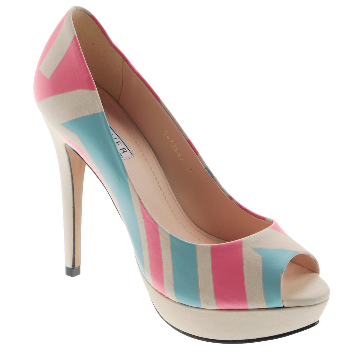 Туфли женские Werner, цвет: светло-бежевый, розовый, голубой. 5-73682. Размер 37 (38)5-73682Женские туфли на шпильке от Werner прекрасно подчеркнут ваш стиль. Верх модели выполнен из натурального нубука и оформлен ярким принтом. Внутренняя часть и стелька из натуральной кожи гарантируют комфорт и удобство при ходьбе. Открытый носок смотрится невероятно женственно. Высокий каблук подчеркнет красоту и стройность ваших ног. Высоту каблука компенсирует платформа.Подошва выполнена из прочного полимера с противоскользящим рифлением. Такие туфли станут прекрасным дополнением вашего гардероба. Они сделают вас ярче и подчеркнут вашу индивидуальность!