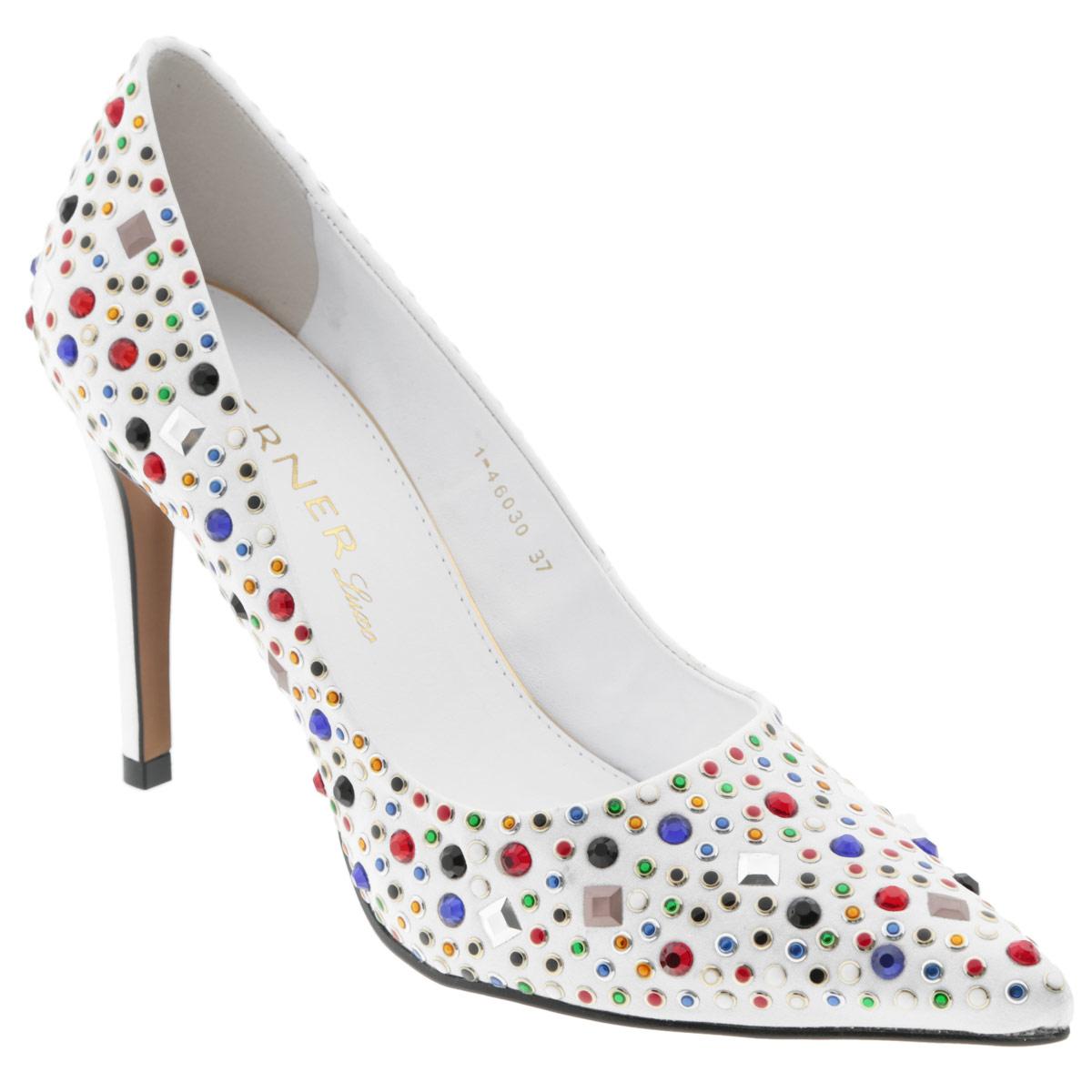 Туфли женские Werner, цвет: белый. 1-46030. Размер 37 (38)1-46030Яркие женские туфли на шпильке от Werner прекрасно подчеркнут ваш стиль. Верх модели выполнен из текстильного материала и оформлен цветными стразами и декоративными клепками. Внутренняя часть и стелька из натуральной кожи гарантируют комфорт и удобство при ходьбе. Высокий каблук подчеркнет красоту и стройность ваших ног. Подошва выполнена из прочного полимера с противоскользящим рифлением. Такие туфли станут прекрасным дополнением вашего гардероба. Они сделают вас ярче и подчеркнут вашу индивидуальность!