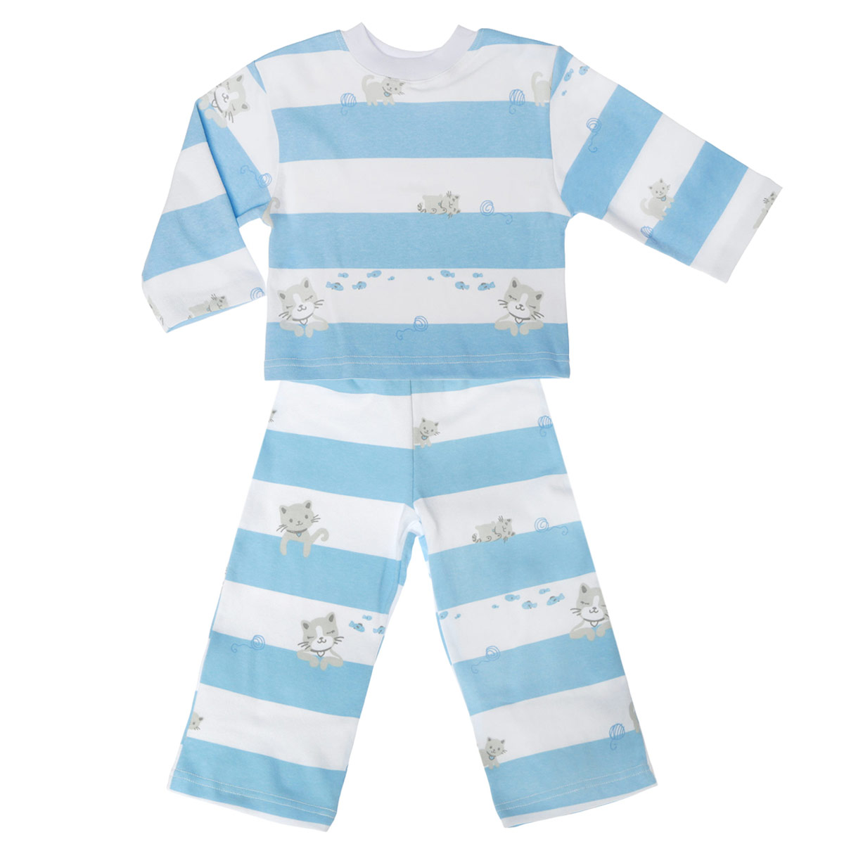 Пижама детская Трон-плюс, цвет: белый, голубой. 5584_котенок, полоска. Размер 110/116, 4-8 лет5584_котенок, полоскиУютная детская пижама Трон-плюс, состоящая из джемпера и брюк, идеально подойдет вашему ребенку и станет отличным дополнением к детскому гардеробу. Изготовленная из натурального хлопка, она необычайно мягкая и легкая, не сковывает движения, позволяет коже дышать и не раздражает даже самую нежную и чувствительную кожу ребенка. Джемпер с длинными рукавами и круглым вырезом горловины оформлен ненавязчивым принтом в полоску, а также изображениями котенка. Вырез горловины дополнен трикотажной эластичной резинкой.Брюки на талии имеют эластичную резинку, благодаря чему не сдавливают живот ребенка и не сползают. Оформлены брючки также ненавязчивым принтом в полоску и изображениями котенка. В такой пижаме ваш ребенок будет чувствовать себя комфортно и уютно во время сна.