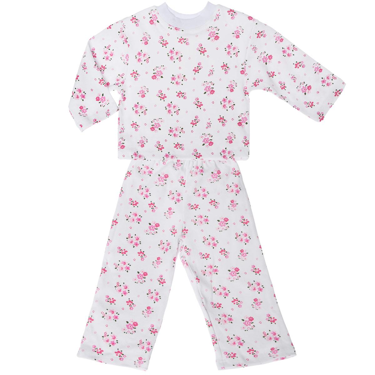 Пижама для девочки Трон-плюс, цвет: белый, розовый. 5584_цветы. Размер 98/104, 3-5 лет5584_цветыУютная пижама для девочки Трон-плюс, состоящая из джемпера и брюк, идеально подойдет вашей дочурке и станет отличным дополнением к детскому гардеробу. Изготовленная из натурального хлопка, она необычайно мягкая и легкая, не сковывает движения, позволяет коже дышать и не раздражает даже самую нежную и чувствительную кожу ребенка. Джемпер с длинными рукавами и круглым вырезом горловины оформлен ненавязчивым цветочным принтом. Вырез горловины дополнен трикотажной эластичной резинкой.Брюки на талии имеют эластичную резинку, благодаря чему не сдавливают живот ребенка и не сползают. Оформлены брючки также ненавязчивым цветочным принтом. В такой пижаме ваш ребенок будет чувствовать себя комфортно и уютно во время сна.