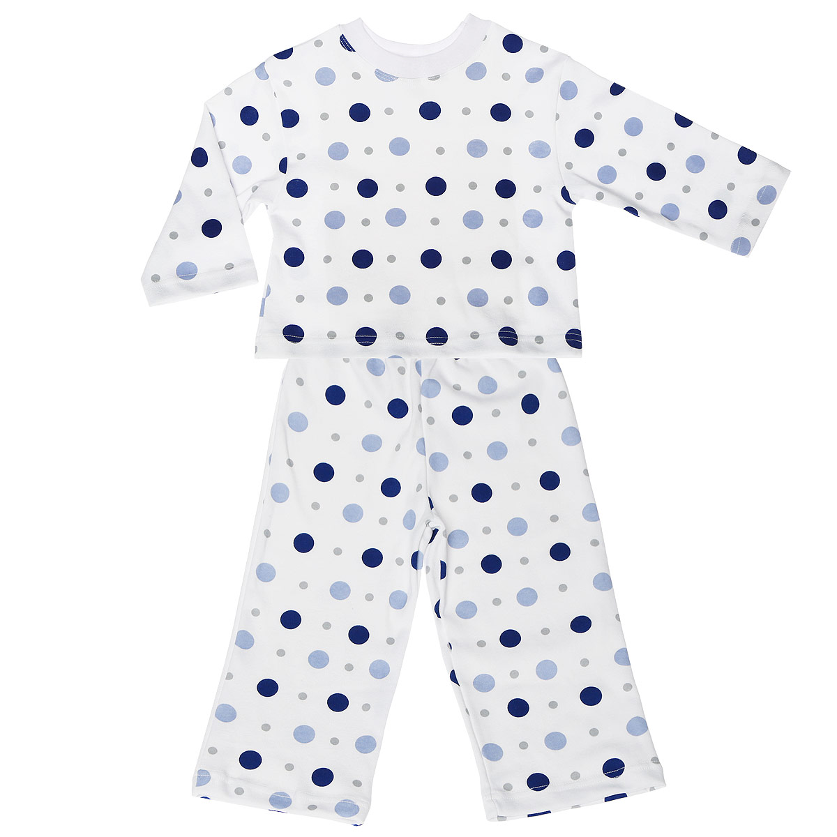 Пижама детская Трон-плюс, цвет: белый, синий. 5584_горох. Размер 86/92, 2-3 года5584_горохУютная детская пижама Трон-плюс, состоящая из джемпера и брюк, идеально подойдет вашему ребенку и станет отличным дополнением к детскому гардеробу. Изготовленная из натурального хлопка, она необычайно мягкая и легкая, не сковывает движения, позволяет коже дышать и не раздражает даже самую нежную и чувствительную кожу ребенка. Джемпер с длинными рукавами и круглым вырезом горловины оформлен гороховым принтом. Вырез горловины дополнен трикотажной эластичной резинкой. Брюки на талии имеют эластичную резинку, благодаря чему не сдавливают живот ребенка и не сползают. Оформлены брючки также гороховым принтом. В такой пижаме ваш ребенок будет чувствовать себя комфортно и уютно во время сна.