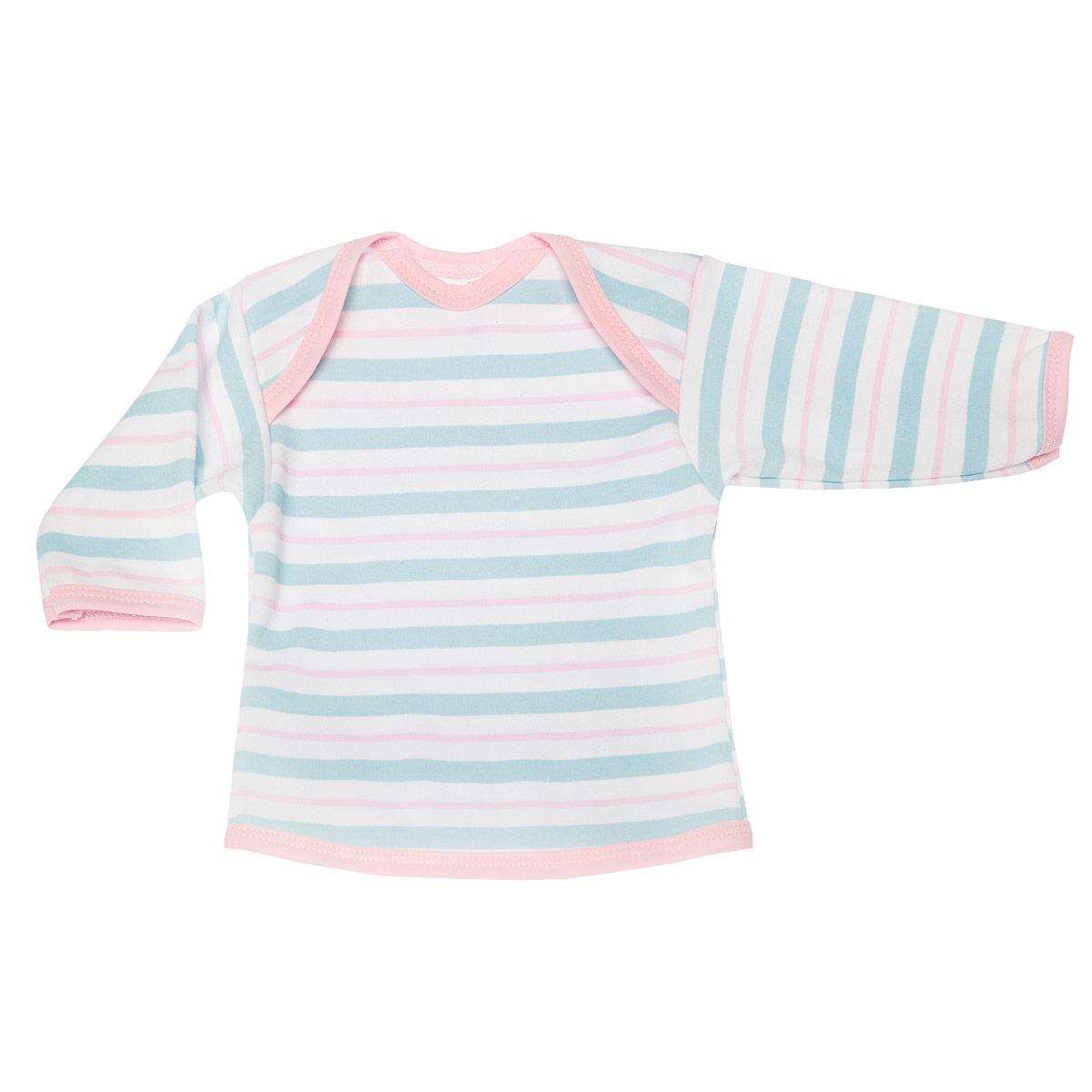 Футболка с длинным рукавом детская Трон-плюс, цвет: бирюзовый, розовый, белый. 5611_полоска. Размер 56, 1 месяц5611_полоскаУдобная детская футболка Трон-плюс с длинными рукавами послужит идеальным дополнением к гардеробу вашего ребенка, обеспечивая ему наибольший комфорт. Изготовленная из интерлока - натурального хлопка, она необычайно мягкая и легкая, не раздражает нежную кожу ребенка и хорошо вентилируется, а эластичные швы приятны телу ребенка и не препятствуют его движениям. Удобные запахи на плечах помогают легко переодеть младенца. Горловина, низ модели и низ рукавов дополнены трикотажной бейкой. Спинка модели незначительно укорочена. Оформлено изделие принтом в полоску. Футболка полностью соответствует особенностям жизни ребенка в ранний период, не стесняя и не ограничивая его в движениях.