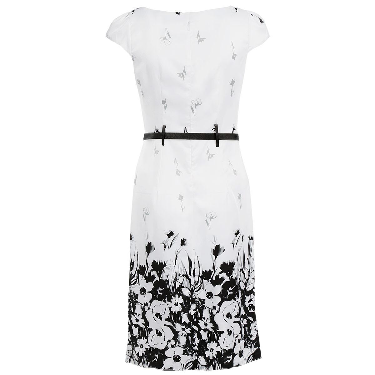 Платье Lautus, цвет: белый, черный. 300. Размер 48300Элегантное платье Lautus изготовлено из высококачественного материала. Такое платье обеспечит вам комфорт и удобство при носке.Платье с короткими рукавами и круглым вырезом горловины понравится любой ценительнице классического стиля и современных форм. Платье на спинке застегивается на застежку-молнию. Приталенный силуэт и прямая юбка великолепно подчеркнут достоинства вашей фигуры. Платье оформлено оригинальным цветочным принтом, рукава присборены по окату, что придает им пышность. В комплект входит контрастный ремень. Изысканное платье создаст обворожительный неповторимый образ.Это модное и удобное платье станет превосходным дополнением к вашему гардеробу, оно подарит вам удобство и поможет вам подчеркнуть свой вкус и неповторимый стиль.