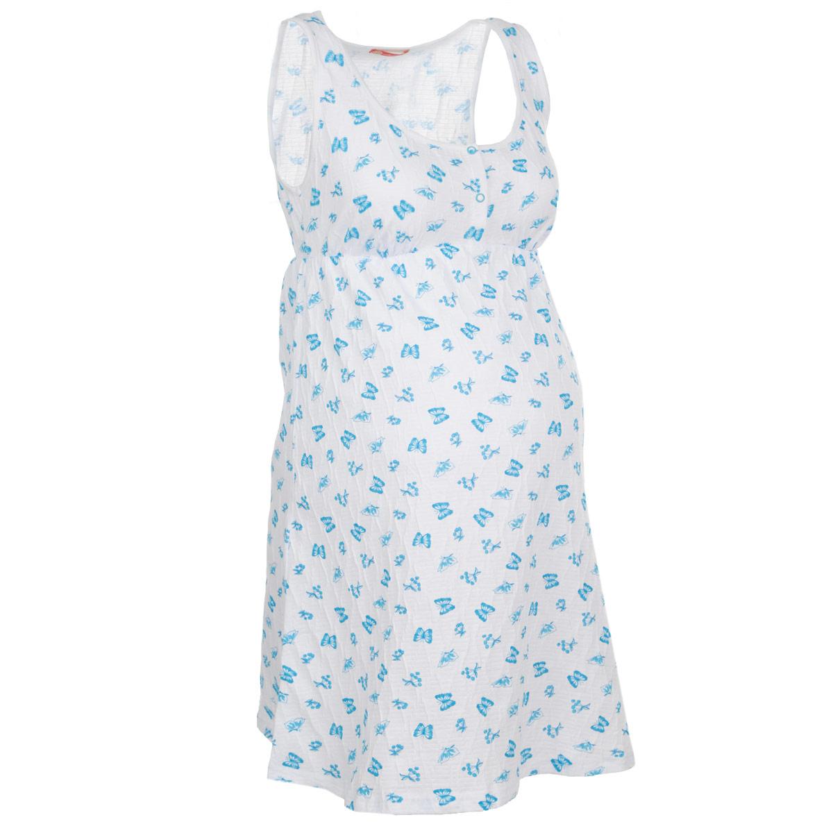 Сорочка ночная для беременных и кормящих Мамин Дом Honey, цвет: белый, голубой. 24140. Размер 46