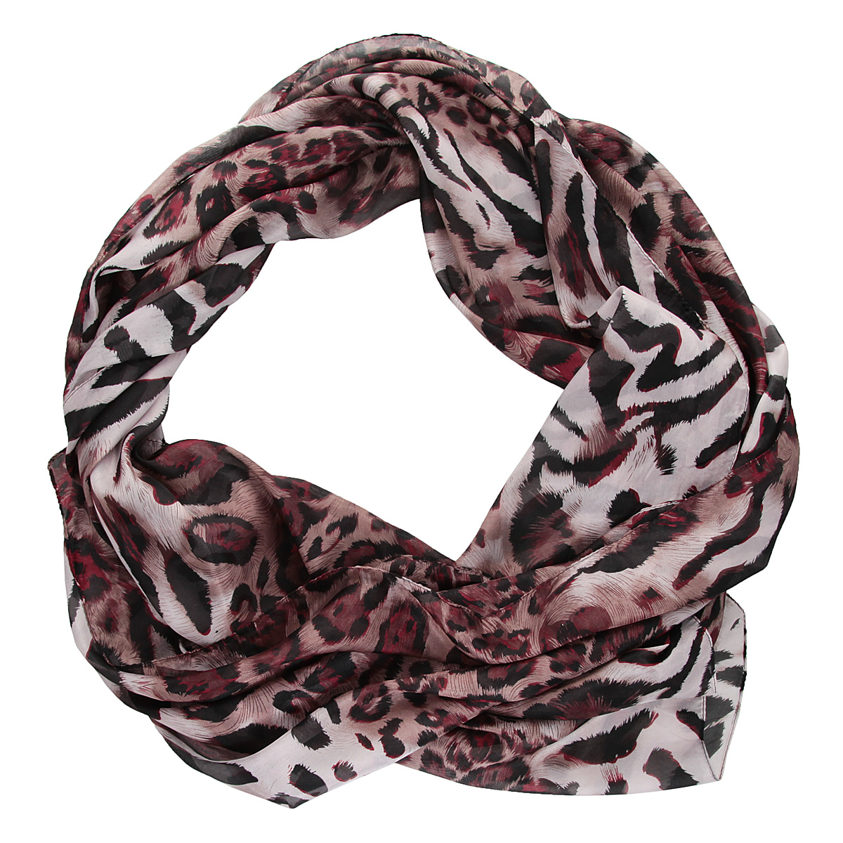 Палантин Модные истории, цвет: черный, леопардовый. 21/0201/162. Размер 90 см x 190