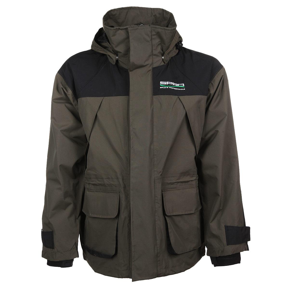 Куртка мужская рыболовная SPRO, цвет: темно-зеленый, черный. 0044110. Размер XXXL (56-58)0044110Мужская куртка SPRO - идеальный вариант для рыбалки. Куртка выполнена из плотной ветро-влагозащитной ткани на сетчатой подкладке. Куртка с воротником-стойкой и капюшоном застегивается на пластиковую застежку-молнию и дополнительно на ветрозащитный клапан на липучках. Капюшон крепится к куртке при помощи кнопок и дополнен скрытой резинкой на стопперах. При необходимости капюшон можно отстегнуть. Спереди модель дополнена двумя вместительными накладными карманами с клапанами на липучка и двумя скрытыми нагрудными карманами на молниях. На внутренней стороне - два потайных кармана на молниях. Куртка имеет скрытую кулиску на талии. Рукава оснащены вшитыми эластичными манжетами, защищающими от продувания и регулируются при помощи хлястиков на липучках. Низ модели дополнен скрытой резинкой на стопперах. Такая куртка обеспечит вам надежную защиту, а также подарит тепло и комфорт в любой ситуации.