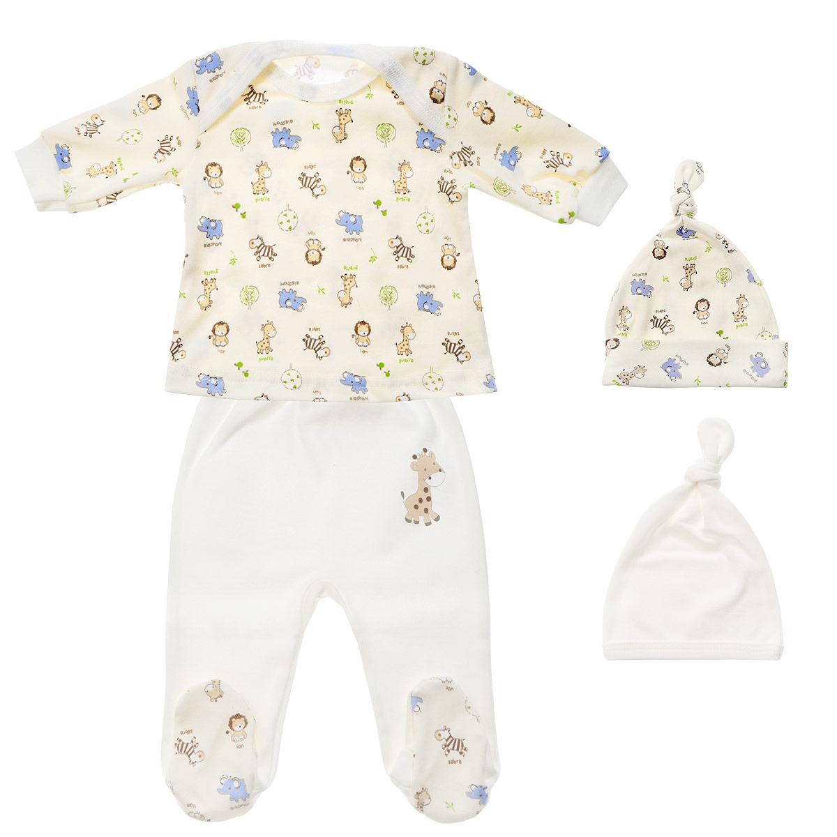 Комплект детский Фреш Стайл, цвет: экрю, белый, 4 предмета. 33к-5236. Размер 20. Рост 62, до 3 месяцев