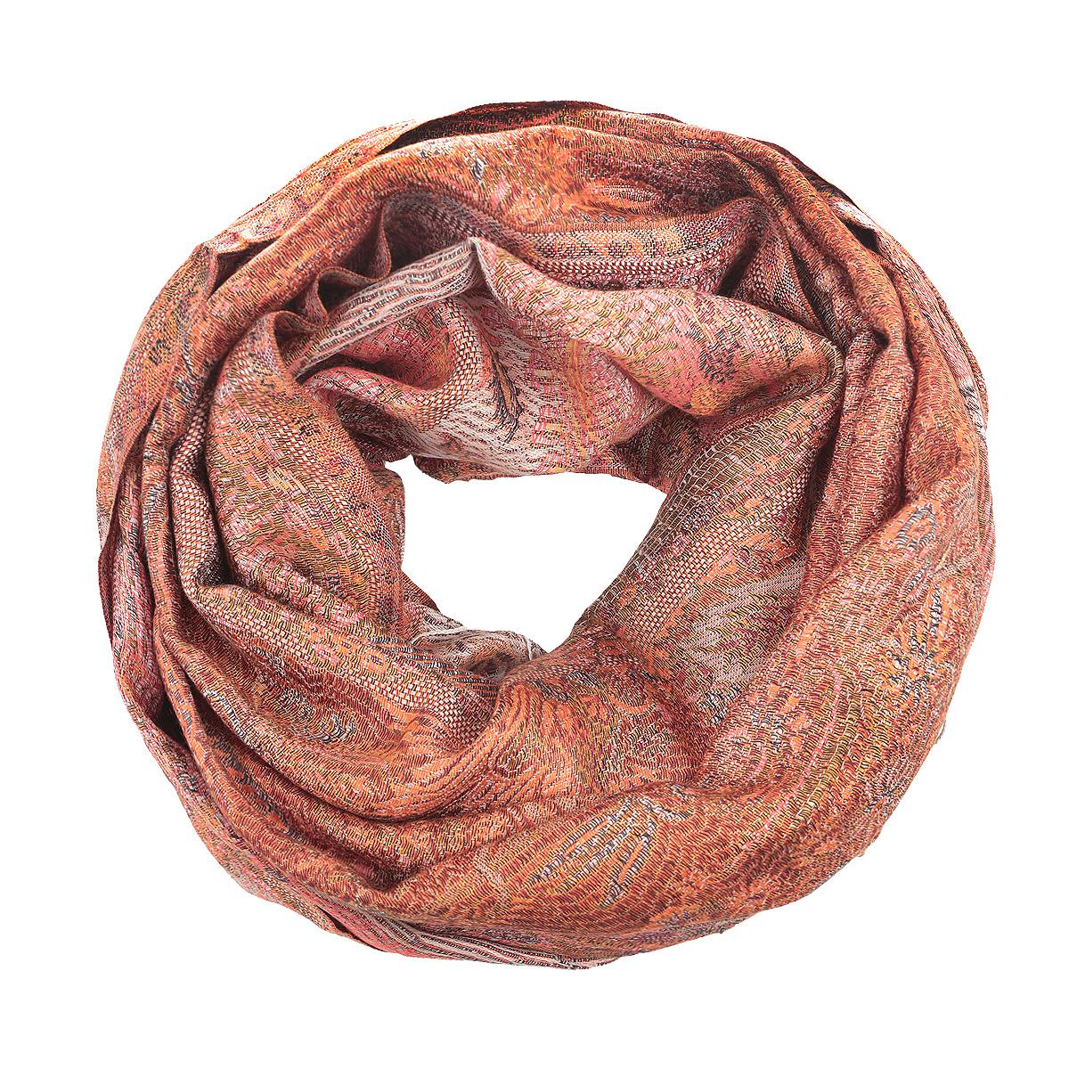 Палантин Ethnica, цвет: оранжевый, коралловый. 377250н. Размер 70 см х 180