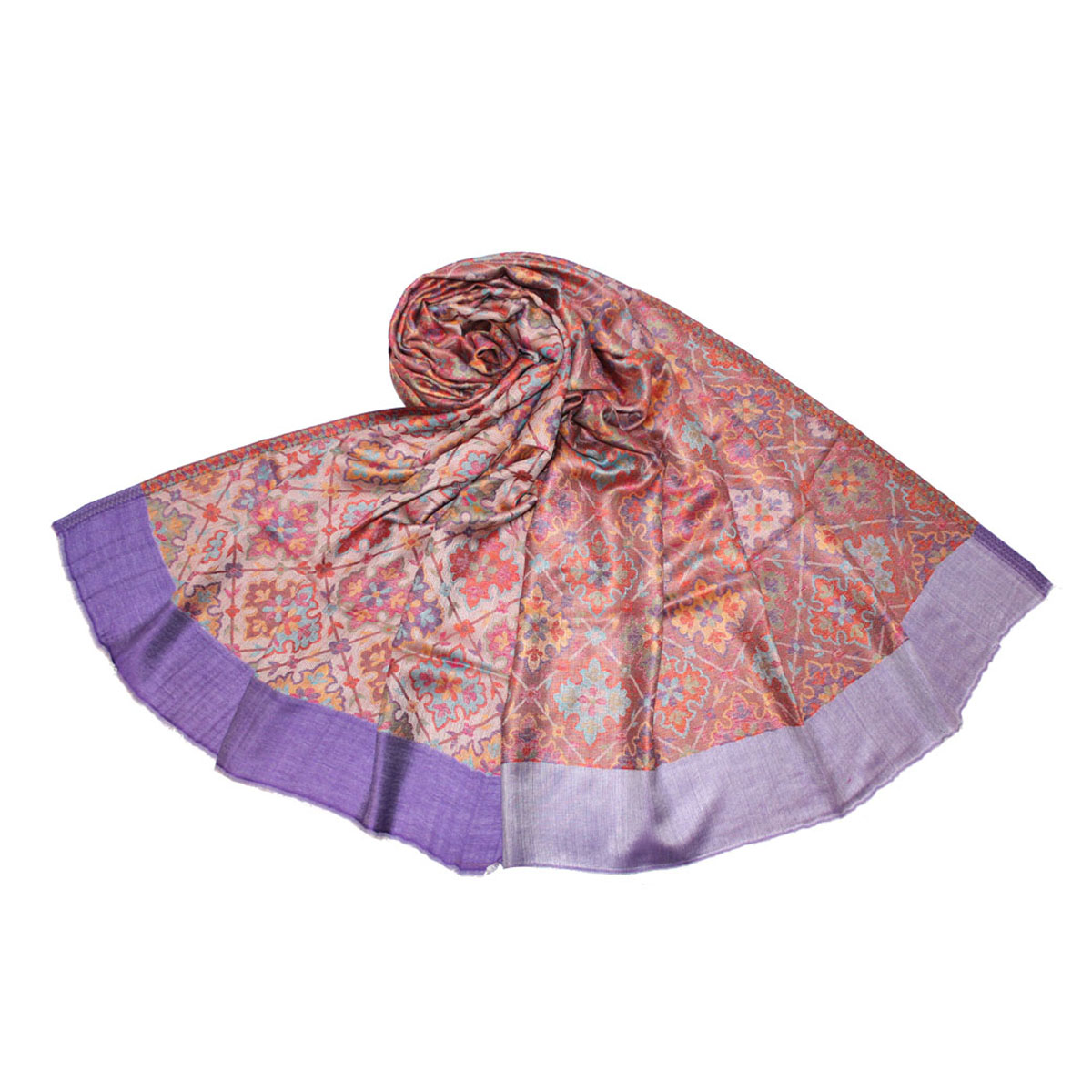 Палантин Ethnica, цвет: фиолетовый, оранжевый, бежевый. 499300н. Размер 70 см х 180