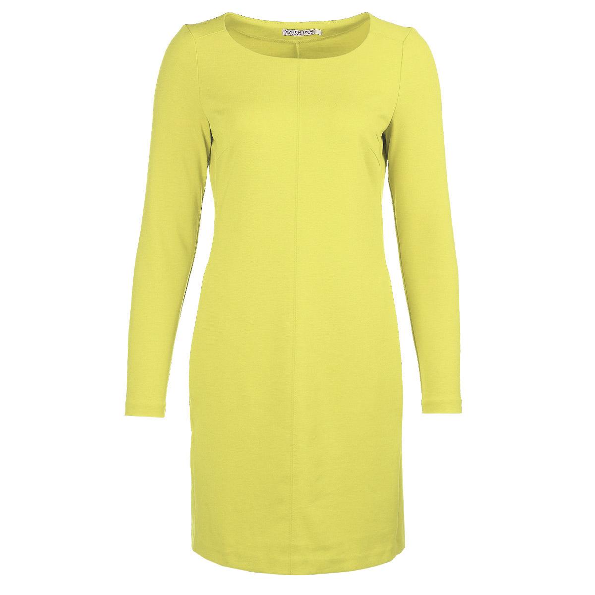 Платье Yarmina, цвет: желтый. Y0237-0010 new. Размер 50Y0237-0010 newЭлегантное платье Yarmina изготовлено из высококачественного материала. Такое платье обеспечит вам комфорт и удобство при носке.Платье с длинными рукавами и круглым вырезом горловины понравится любой ценительнице классического стиля и современных форм. Платье оформлено декоративными вытачками на груди, и дополнено двумя прорезными карманами. Приталенная модель с прямой юбкой великолепно подчеркнет достоинства вашей фигуры. Изысканное платье создаст обворожительный неповторимый образ.Это модное и удобное платье станет превосходным дополнением к вашему гардеробу, оно подарит вам удобство и поможет вам подчеркнуть свой вкус и неповторимый стиль.