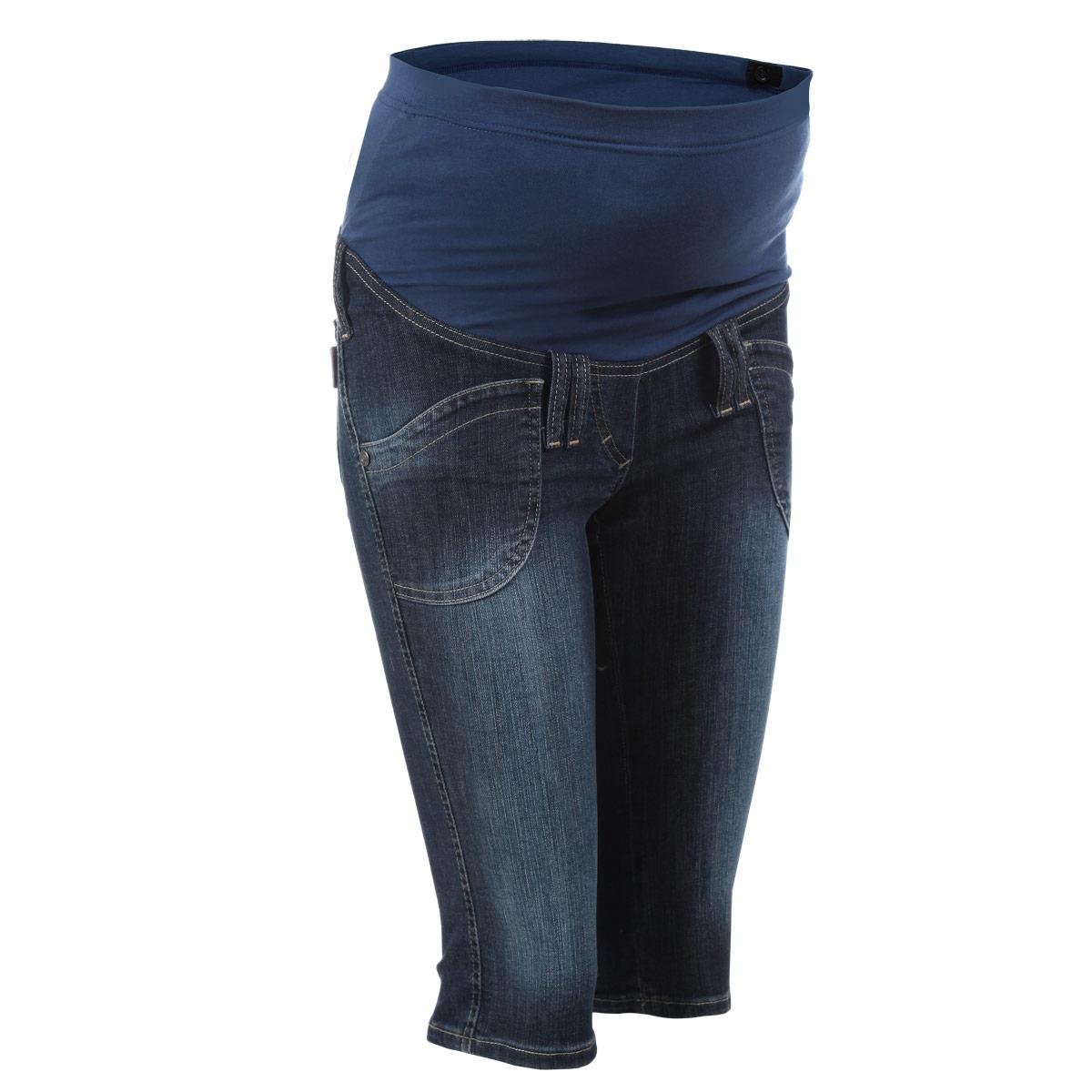 Бриджи для беременных Nuova Vita, цвет: темно-синий. 5315.1. Размер 425315.1Очень удобные джинсовые бриджи для беременных Nuova Vita с бандажом на живот, изготовленные из высококачественного материала, придают элегантность и индивидуальность. Бриджи прямого покроя имеют четырехкарманный крой: спереди - два накладных кармана и сзади - два накладных кармана. Имеются шлевки для ремня и имитация ширинки. Бандаж из стрейч-ткани поддерживает живот и уменьшает нагрузку на поясницу, с внутренней стороны регулируется эластичной резинкой на пуговице. В прохладную погоду бриджи прекрасно сочетаются со свитерами и кардиганами, длинными блузками или джемперами.Эта модель придется по душе даже самой капризной женщине.