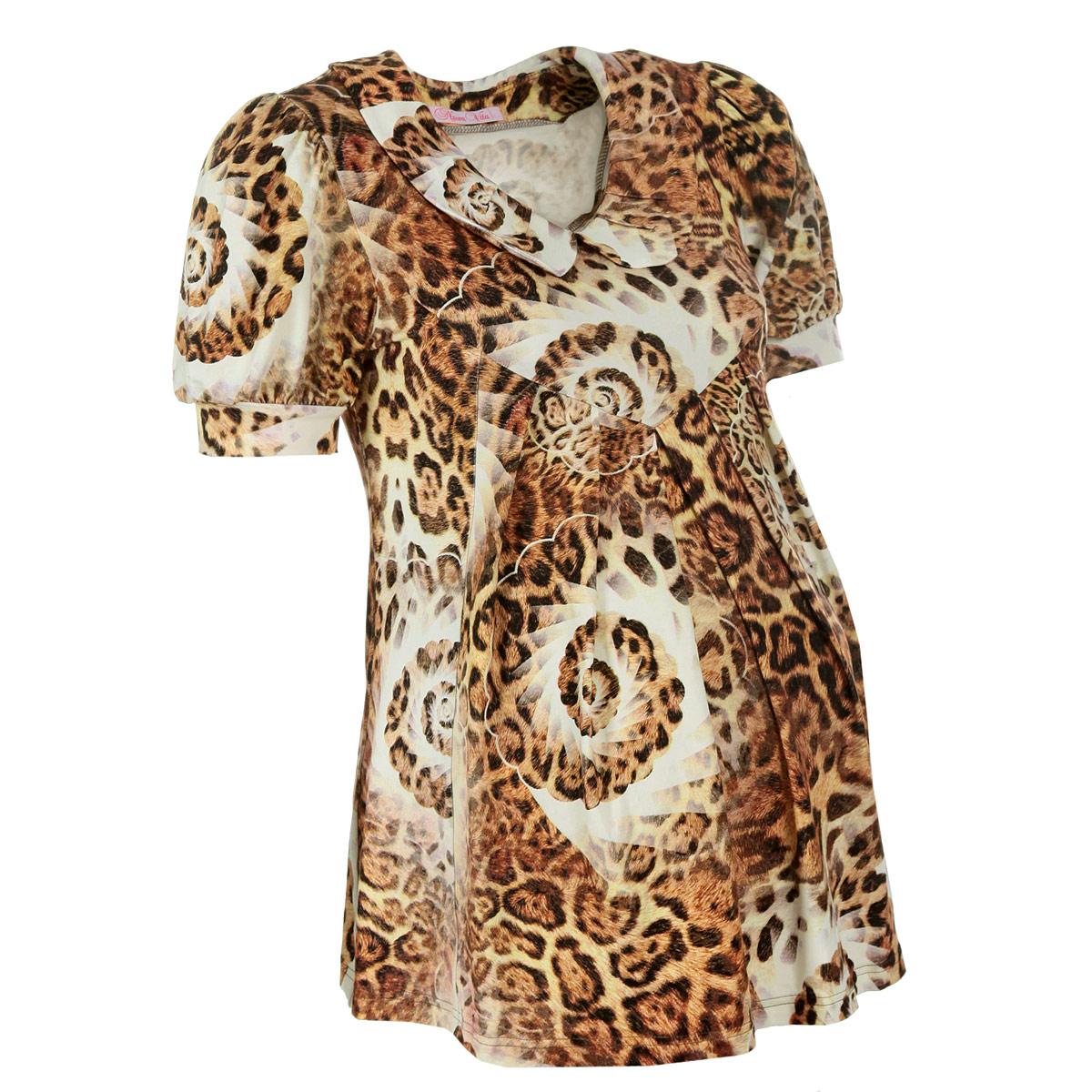 Блуза для беременных Nuova Vita, цвет: леопардовый. 1314.1. Размер 42 (42/44)1314.1Женственная, изящная блуза для будущих мам Nuova Vita, изготовленная из эластичной вискозы, прекрасно подойдет на любом сроке беременности. Покрой модели прост, но при этом элегантен.Данная модель с короткими рукавами-фонариками и отложным воротничком не только идеально сидит на любой фигуре, но и, благодаря леопардовому принту, всегда в моде.Вискоза является волокном, произведенным из натурального материала - целлюлозы (древесины). Иногда ее называют древесный шелк. Эта ткань на ощупь мягкая и приятная, образует красивые складки. Материал очень хорошо впитывает влагу, не образует катышек со временем, не выцветает на солнце и обладает приятным шелковистым блеском. Такая блуза очень женственно смотрятся на фигуре с округлым животиком будущей мамы и, за счет удачного кроя, ее можно носить и после периода беременности. Она прекрасно сочетается с бриджами, леггинсами, капри, шортами и длинными брюками, с джинсами, а также с некоторыми фасонами юбок.