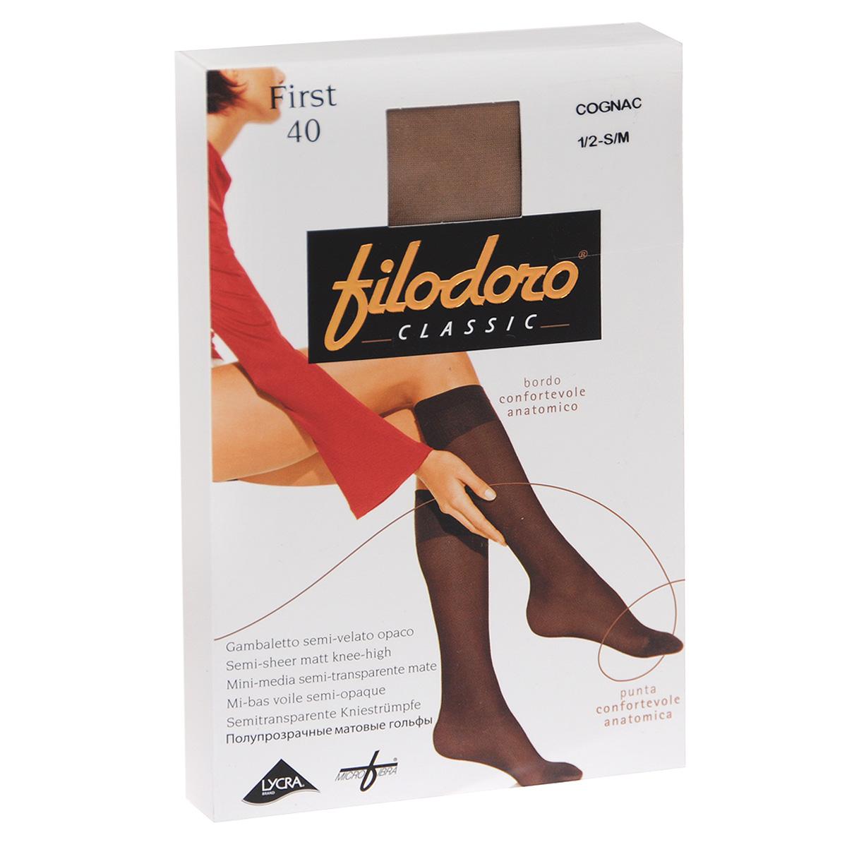 Гольфы женские Filodoro Classic First 40, цвет: Cognac (загар). C110309FC. Размер 1/2 (S/M)C110309FCТонкие матовые эластичные гольфы Filodoro Classic First, с комфортной резинкой дифференцированной конструкции, укрепленным мыском. Плотность: 40 den.