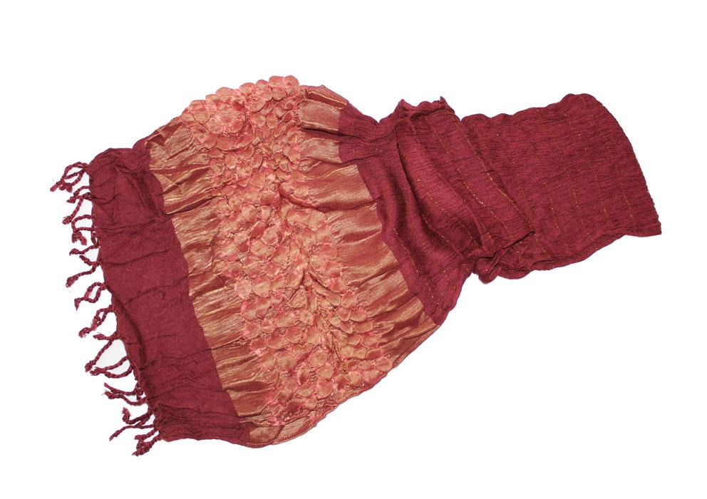 Шарф женский Ethnica, цвет: бордовый, золотой. 811100. Размер 50 см х 170
