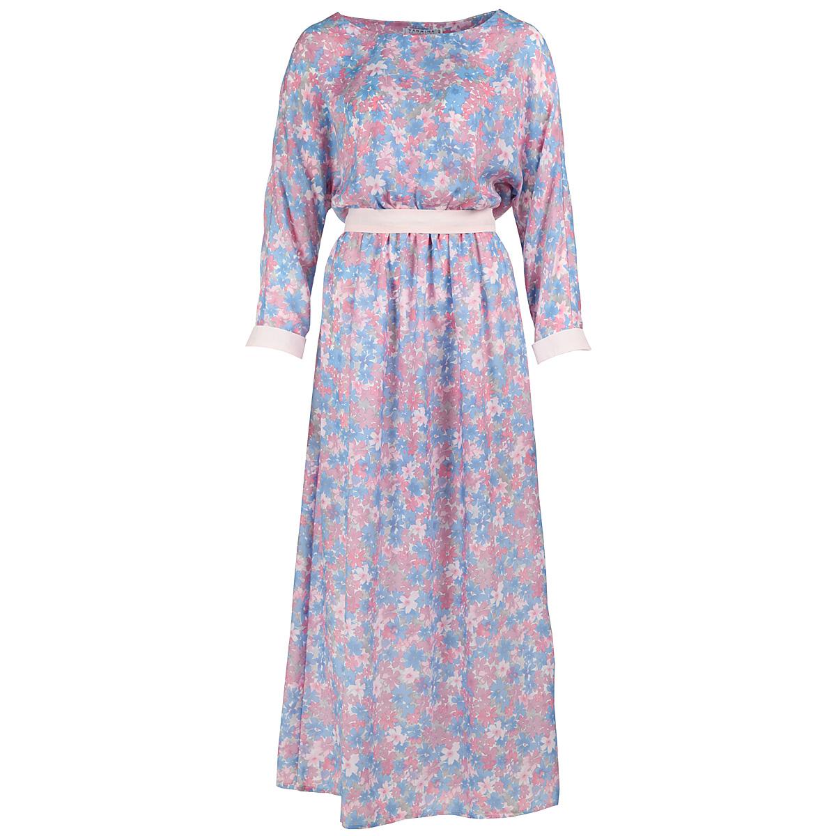 Платье Yarmina, цвет: голубой, сиреневый. Y1108-0146. Размер 50Y1108-0146Элегантное платье Yarmina в пол придаст очарование и женственность своей обладательнице. Модель с отрезной талией, круглым вырезом горловины и длинными рукавами-кимоно выполнена из приятной струящейся ткани - вискозы с цветочным принтом. На талии модель собрана на резинку и дополнена изящным пояском. Рукава оформлены манжетами контрастного цвета. Изысканный наряд создаст обворожительный неповторимый образ. Приталенный силуэт подчеркивает стройность фигуры.