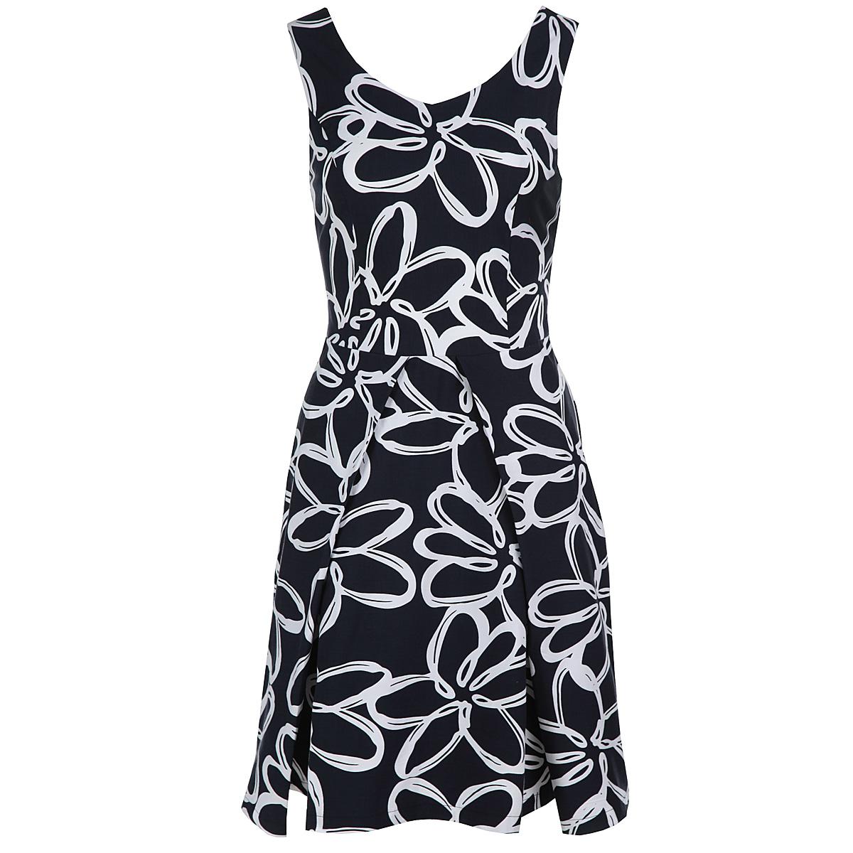 Платье Yarmina, цвет: темно-синий, белый. 6321466. Размер 486321466Модное летнее платье Yarmina, изготовленное из высококачественного материала, подарит вам ощущение праздника и комфорта. Модель приталенного силуэта, с V-образным вырезом горловины и на широких бретелях. Изделие застегивается на потайную застежку-молнию, расположенную в боковом шве. Модель имеет расклешенную юбку, оформленную объемными складками. В этом платье вы всегда будете чувствовать себя уверенно, оставаясь в центре внимания.