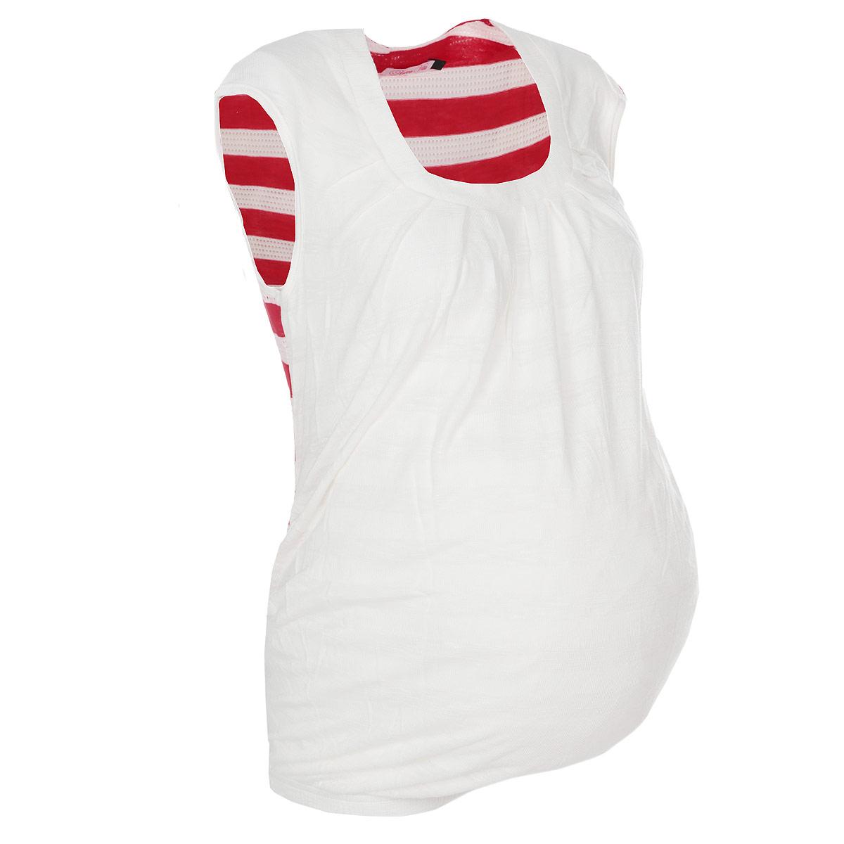 Футболка для беременных Nuova Vita, цвет: белый, красный. 1347.1. Размер 441347.1Стильная футболка Nuova Vita для будущих мам, изготовленная из мягкой вискозы с полосатым принтом, подарит комфорт во время носки. Модель полуоблегающего кроя с круглым вырезом горловины и без рукавов идеальна для повседневной носки, прекрасно садится на любую фигуру, комфортна и приятна к телу. По низу изделие собрано на резинку. Вискоза является волокном, произведенным из натурального материала - целлюлозы (древесины). Иногда ее называют древесный шелк. Эта ткань на ощупь мягкая и приятная, образует красивые складки. Материал очень хорошо впитывает влагу, не образует катышек со временем, не выцветает на солнце и обладает приятным шелковистым блеском.