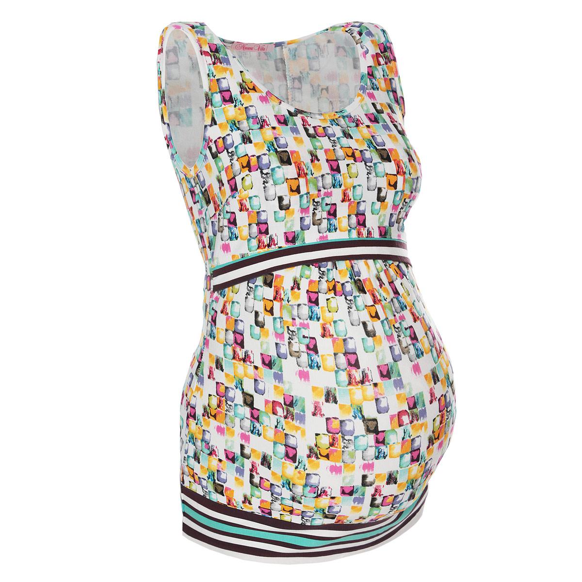 Майка для беременных и кормящих Nuova Vita, цвет: белый, желтый, зеленый. 1113.07. Размер 501113.07Модная майка Nuova Vita для будущих и кормящих мам, изготовленная из эластичной вискозы с ярким принтом, подарит комфорт во время носки. Модель свободного кроя с круглым вырезом горловины подходит для носки во время беременности и в период грудного вскармливания. Майка не стесняет движений и не вызывает чувства дискомфорта. Удобный секрет для кормления конверт позволяет осуществить кормление малыша в любом удобном месте. Майка прекрасно скрывает особенности фигуры после родов.