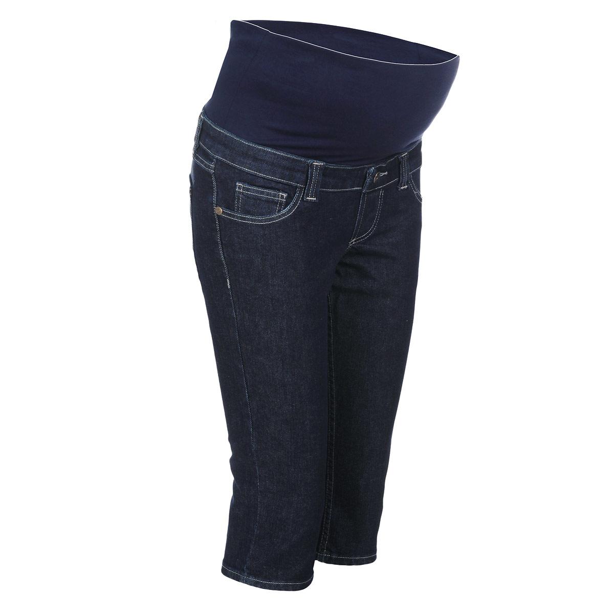 Бриджи для беременных Nuova Vita, цвет: темно-синий. 5312.11. Размер 425312.11Очень удобные джинсовые бриджи для беременных Nuova Vita с бандажом на живот, изготовленные из плотного хлопка, придают женщине элегантность и индивидуальность. Бриджи прямого покроя имеют классический пятикарманный крой: спереди - два втачных кармашка и один маленький накладной, а сзади - два накладных кармана. Имеется имитация ширинки. Бандаж из стрейч-ткани поддерживает живот и уменьшает нагрузку на поясницу. В прохладную погоду бриджи прекрасно сочетаются со свитерами и кардиганами, длинными блузками или джемперами.Эта модель придется по душе даже самой капризной женщине.