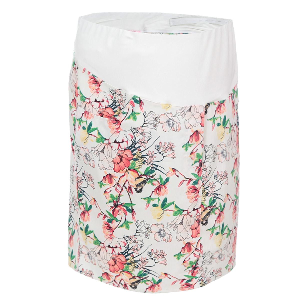 Юбка для беременных Nuova Vita, цвет: молочный, розовый. 6103.1. Размер 486103.1Летняя юбка Nuova Vita для беременных выполнена из качественного хлопкового материала, что позволяет изделию не деформироваться при носке. Модель прямого кроя дополнена бандажом из мягкой ткани с эластичной поддерживающей резинкой, не сдавливающей живот даже на последнем месяце беременности. Модель оформлена цветочным принтом, спереди дополнена двумя втачными карманами, сзади предусмотрена шлица в среднем шве. Стильная и удобная юбка займет достойное место в гардеробе молодой мамы.
