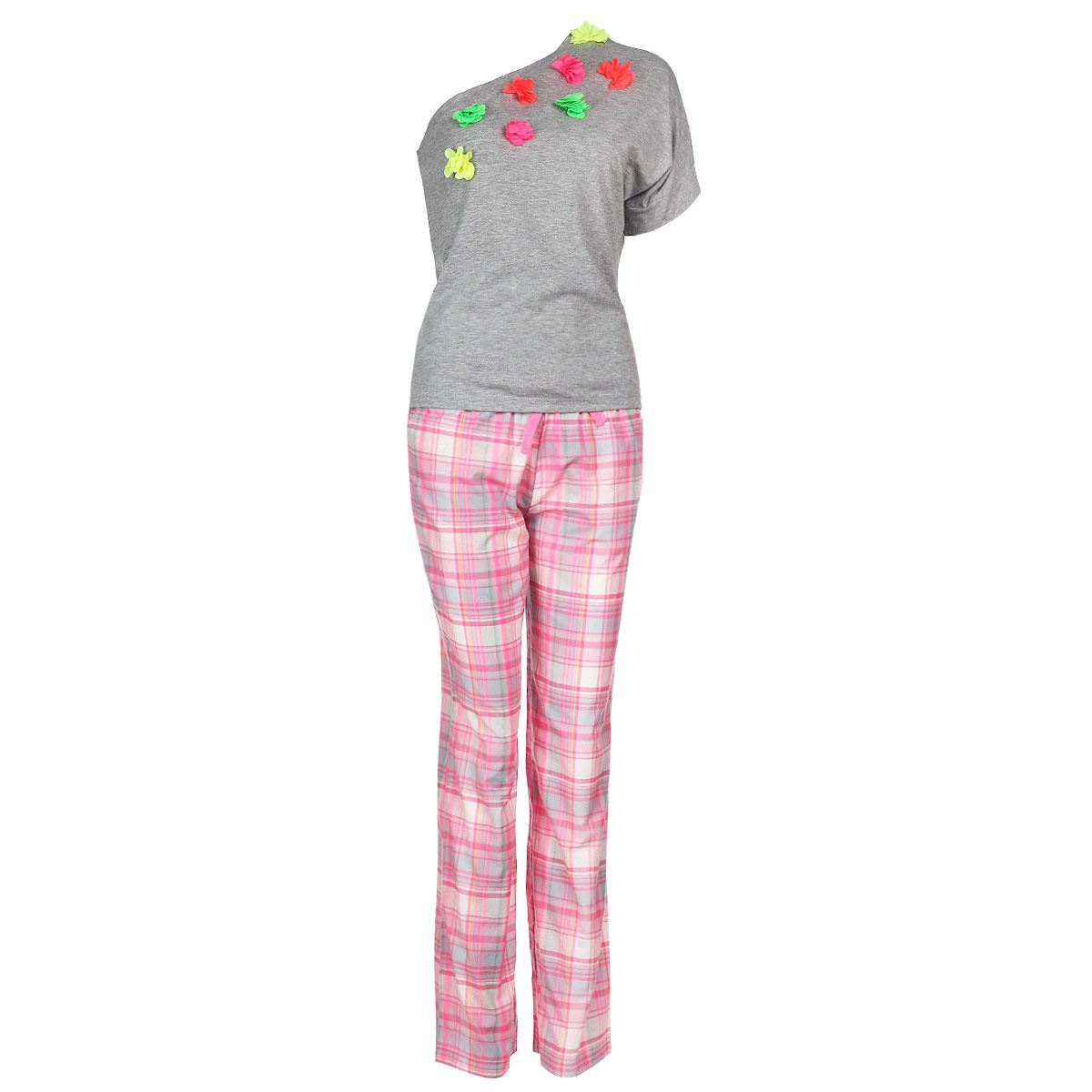 Пижама женская Milana Style, цвет: серый, розовый. 6250. Размер XL (50)6250Женская пижама Milana Style состоит из футболки с коротким рукавом и брюк. Пижама выполнена из приятного на ощупь хлопкового материала. Футболка и брюки не сковывают движения и позволяют коже дышать. Футболка свободного кроя с ассиметричным вырезом на одно плечо спереди оформлена аппликацией в виде ярких текстильных цветов. Прямые свободные брюки на широкой эластичной резинке оформлены клетчатым принтом, на талии дополнены затягивающимся шнурком и по бокам имеют два втачных кармана с косыми срезами. Идеальные конструкции и приятное цветовое решение - отличный выбор на каждый день. В такой пижаме вам будет максимально комфортно и уютно.