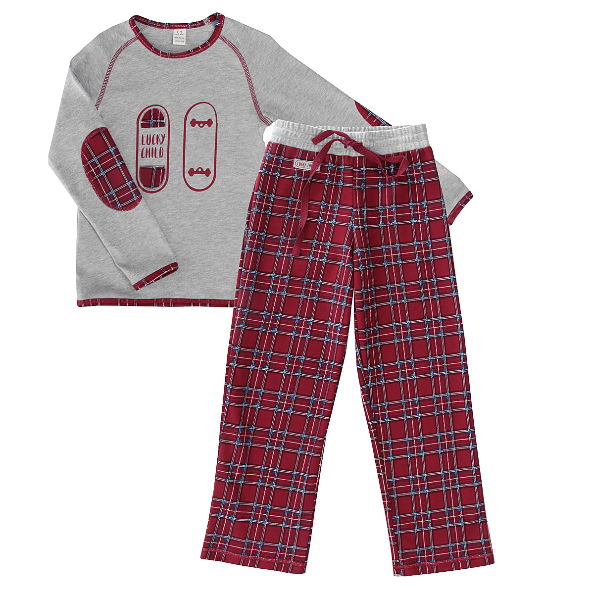 Пижама для мальчика Lucky Child, цвет: серый, бордовый. 13-400. Размер 30. Рост 110/11613-400Очаровательная пижама для мальчика Lucky Child, состоящая из джемпера и брюк, идеально подойдет вашему ребенку и станет отличным дополнением к детскому гардеробу. Изготовленная из натурального хлопка, она необычайно мягкая и приятная на ощупь, не раздражает нежную кожу ребенка и хорошо вентилируется, а эластичные швы приятны телу и не препятствуют движениям. Джемпер с длинными рукавами-реглан и круглым вырезом горловины оформлена принтом и аппликацией в виде скейтборда, а также контрастной строчкой. Вырез горловины, края рукавов и низ изделия дополнены трикотажной бейкой контрастного цвета. Рукава оформлены декоративными заплатами с принтом в клетку. Брюки на талии имеют широкую эластичную резинку, регулируемую шнурком, благодаря чему, они не сдавливают живот и не сползают. Оформлено изделие принтом в клетку и декорировано небольшой нашивкой с называнием бренда. Такая пижама идеально подойдет вашему ребенку, а мягкие полотна позволят ему комфортно чувствовать себя во время сна!