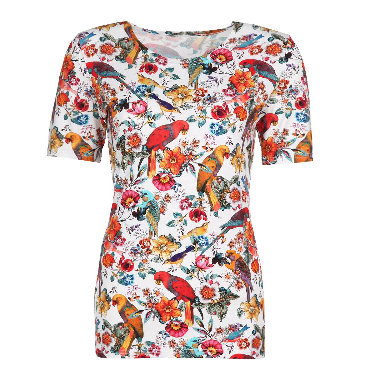 Футболка женская Lautus, цвет: белый, оранжевый, красный. б0334. Размер 48б0334Стильная женская футболка Lautus с короткими рукавами, изготовленная из эластичного трикотажа, прекрасно подойдет для любого типа фигуры. Модель прямого кроя с круглым вырезом горловины оформлена ярким принтом с изображением попугаев и цветов. Такая замечательная футболка станет отличным украшением гардероба. В ней вы всегда будет в центре внимания!