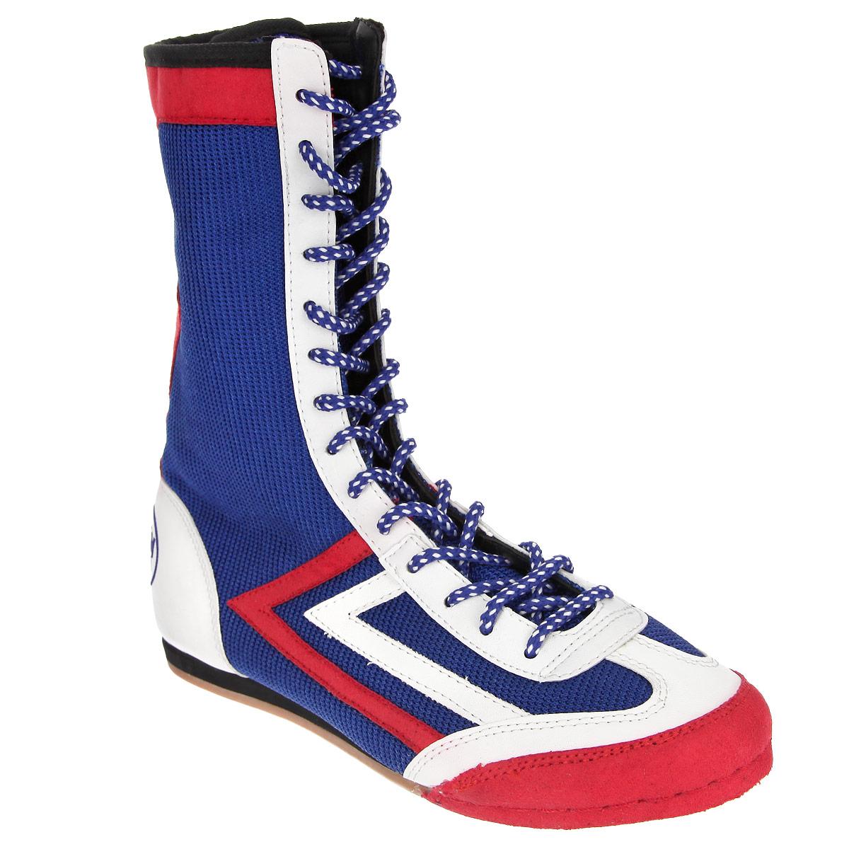 Боксерки Green Hill, цвет: синий. BS-5076a. Размер 45BS-5076Классическиебоксерки от Green Hill предназначены для занятий боксом. Модель, выполненная из дышащего текстиля со вставками из искусственной кожи и замши, оформлена названием бренда. Уплотненный задник и шнуровка обеспечивают надежную фиксацию обуви на ноге. Высокое голенище - для дополнительной защиты от ударов. Подошва с противоскользящим рифлением гарантирует идеальное сцепление с любой поверхностью. Стелька EVA с текстильной поверхностью обеспечивает превосходную амортизацию и комфорт.В таких боксерках вашим ногам будет максимально комфортно.
