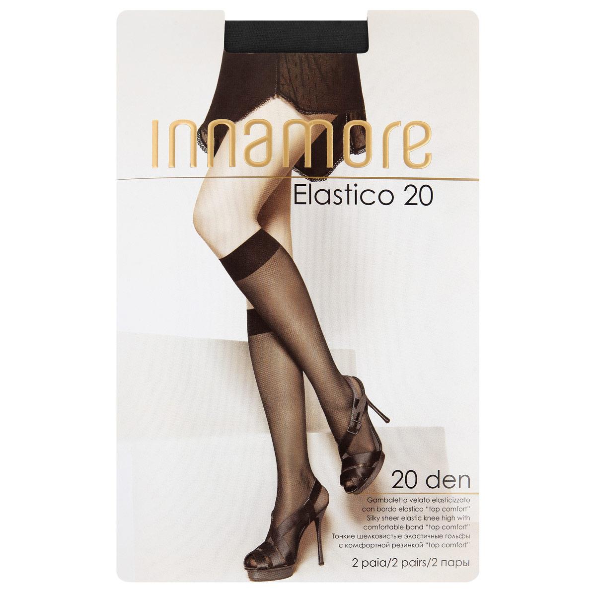 Гольфы женские Innamore Elastico 20, цвет: Nero (черный), 2 пары. Размер универсальныйElastico 20 lycraТонкие шелковистые эластичные гольфы плотностью 20 ден, с комфортной резинкой Top comfort и прозрачным укрепленным мыском.