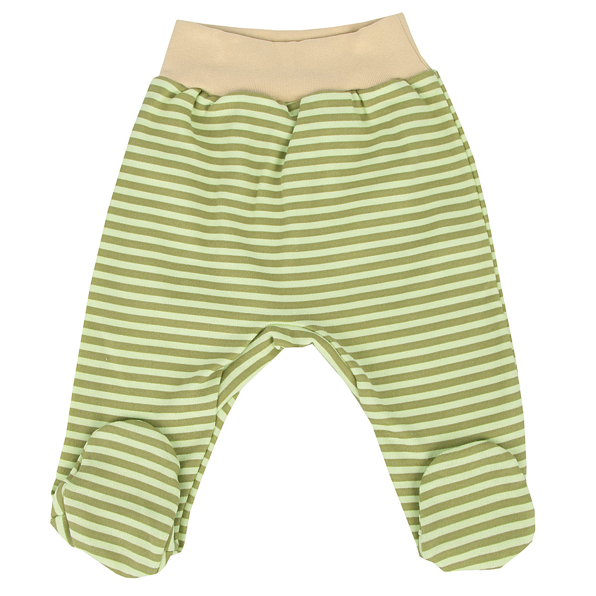 Ползунки на широком поясе для мальчика КотМарКот, цвет: фисташковый, оливковый, бежевый. 5283. Размер 56, 0-1 месяц5283Удобные ползунки для новорожденного КотМарКот на широком поясе послужат идеальным дополнением к гардеробу вашего малыша. Ползунки, изготовленные из натурального хлопка - интерлока, они необычайно мягкие и легкие, не раздражают нежную кожу ребенка и хорошо вентилируются, а эластичные швы приятны телу младенца и не препятствуют его движениям. Ползунки с закрытыми ножками благодаря мягкому эластичному поясу не сдавливают животик ребенка и не сползают, обеспечивая ему наибольший комфорт, идеально подходят для ношения с подгузником и без него. Изделие оформлено принтом в полоску.Ползунки отлично сочетаются с футболками, кофточками и боди. В них вашему малышу будет уютно и комфортно!
