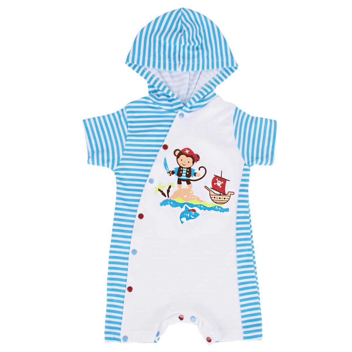 Песочник для мальчика КотМарКот, цвет: белый, голубой. 3662. Размер 62, 1-3 месяца