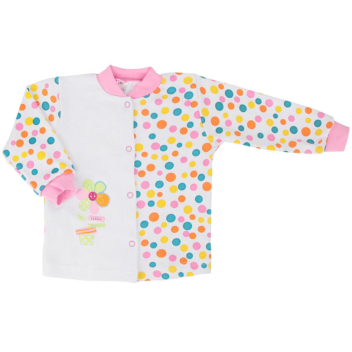 Кофточка для девочки КотМарКот, цвет: белый, розовый, бирюзовый. 7184. Размер 62, 1-3 месяца7184Кофточка для девочки КотМарКот послужит идеальным дополнением к гардеробу вашей малышки, обеспечивая ей наибольший комфорт. Кофточка с длинными рукавами изготовлена из натурального хлопка - интерлока, благодаря чему она необычайно мягкая и легкая, не раздражает нежную кожу ребенка и хорошо вентилируется, а эластичные швы приятны телу младенца и не препятствуют его движениям. Удобные застежки-кнопки по всей длине помогают легко переодеть ребенка. Рукава понизу дополнены широкими трикотажными манжетами, мягко обхватывающими запястья, а горловина - небольшим трикотажным воротничком-стоечкой. Модель оформлена цветным гороховым принтом, а также принтом с изображением цветочка. Кофточка полностью соответствует особенностям жизни ребенка в ранний период, не стесняя и не ограничивая его в движениях. В ней ваша малышка всегда будет в центре внимания.