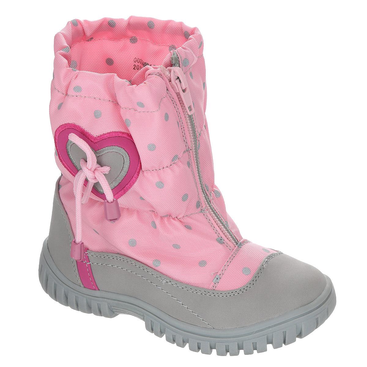 Сапоги для девочки Аллигаша, цвет: светло-розовый, серый. 000240014. Размер 25 (24)000240014Замечательные сапоги для девочки Аллигаша, изготовленные из современных материалов, обеспечат удобство и комфорт ножкам вашей малышки в прохладную погоду. Верх выполнен из комбинаций искусственной кожи (нубука) и текстиля с пропиткой от промокания, а также оформлен аппликацией в виде сердечка с декоративным шнурочком, гороховым принтом и прострочкой. Модель на высокой рифленой подошве с округлым мыском обеспечивает удобство и практичность на каждый день. Удобная пяточная часть укреплена и дополнена светоотражающим элементом. Внутренняя отделка из текстиля и шерсти. Застежка-молния по линии подъема с защитой от промокания обеспечивает практичность и комфортную фиксацию модели на ноге. Стелька из натуральной шерсти не даст ножке замерзнуть. Прорезиненная подошва с протектором обеспечивает удобство и комфорт в носке при любой погоде.В таких сапожках ножкам вашего ребенка всегда будет комфортно, уютно и тепло!