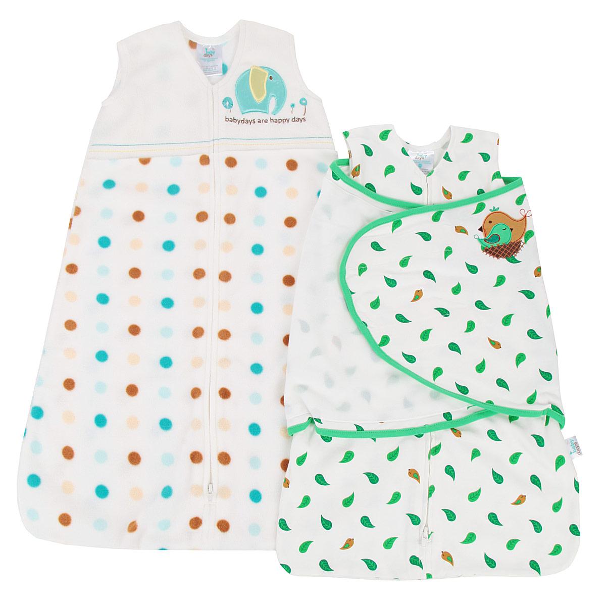 Подарочный набор для новорожденного Babydays: спальный конверт, спальный мешок, цвет: белый, зеленый. bd20003. Размер 48/66, 0-6 месяцев0602-400 LNA_белый _0/6мПодарочный набор для новорожденного Babydays, состоящий из спального конверта с липучками и спального мешка, удобен в использовании, как для малыша, так и для родителей. Изделия выполнены из высококачественного материала, абсолютно безопасного для ребенка. Материал отличается высокой прочностью и износостойкостью, не линяет, не теряет яркости, сохраняет свой первоначальный вид по мере использования и носки. Конверт одевается поверх обычной одежды для сна, обеспечивая максимальный комфорт и безопасность. Конверт и мешок одеваются поверх обычной одежды для сна, обеспечивая максимальный комфорт и безопасность.Спальный мешок без рукавов и с V-образным вырезом горловины застегивается на длинную застежку снизу вверх, что делает удобным смену подгузников и не травмирует подбородок. Безрукавный крой снижает риск перегрева. Свободная нижняя часть дает малышу достаточное пространство, чтобы двигать ножками: это необходимо для правильного развития тазобедренного сустава. Оформлено изделие гороховым принтом, а также на груди украшено аппликацией в виде слоника и вышитой надписью на английском языке. Конверт застегивается на пластиковую застежку-молнию снизу вверх, что делает удобным смену подгузников и не травмирует подбородок малыша, и дополнительно запахом на липучки. Модель спального конверта позволяет держать руки малыша как внутри, так и снаружи. Два способа пеленания малыша показаны на инструкции по использованию. Оформлено изделие принтом с изображением листочков, а также аппликацией в виде птички. Такой набор для новорожденного заменит одеяло и подарит малышу комфорт во время сна.