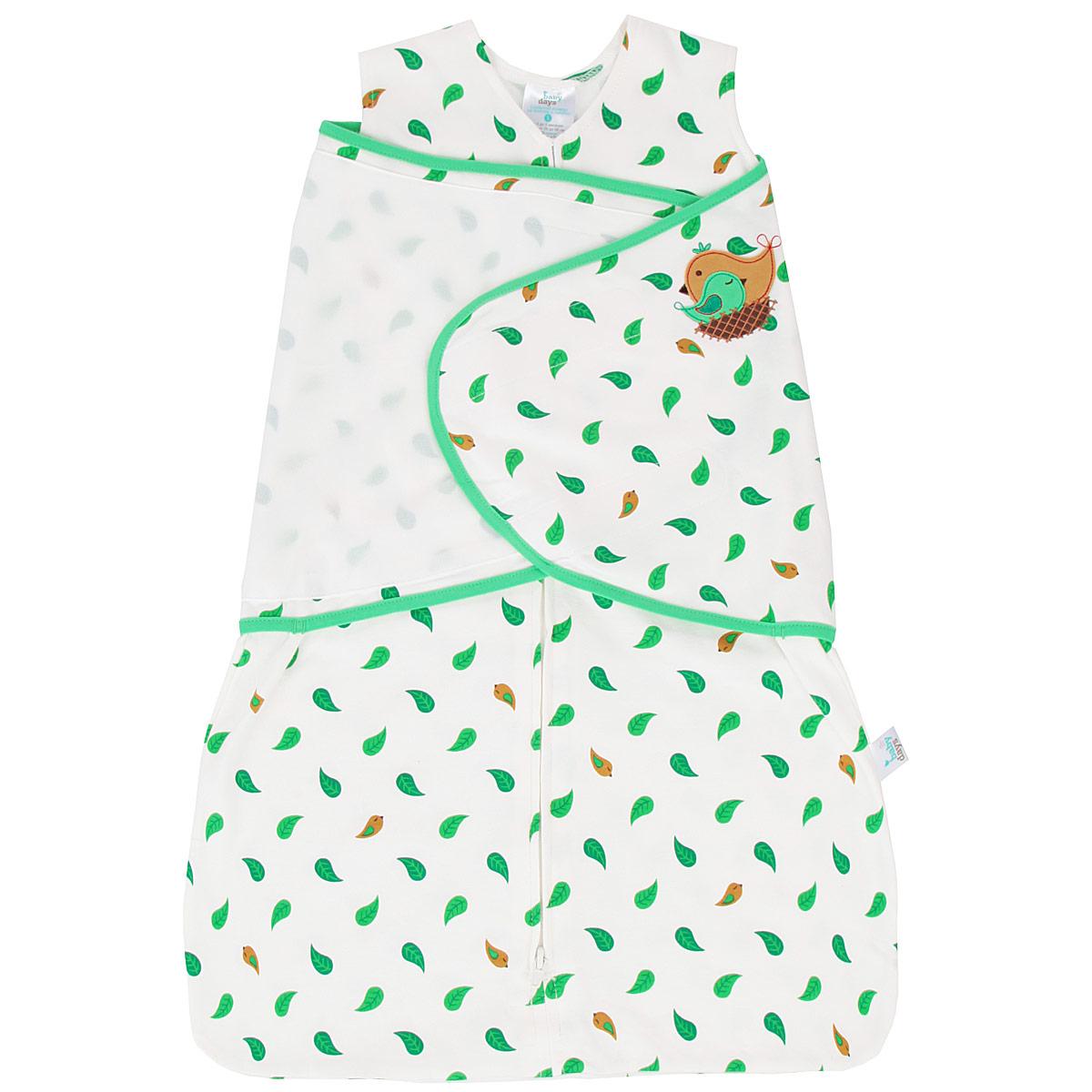 Спальный конверт для новорожденного Babydays Птичка, цвет: белый, зеленый. bd20001. Размер Nb 48/58, 0-3 месяца0101-400 LNA_белый _58-66 см.Спальный конверт для новорожденного Babydays Птичка, изготовленный из натурального хлопка, необычайно мягкий и легкий, не раздражает нежную кожу ребенка, и хорошо вентилируются и отлично впитывает влагу, а эластичные швы приятны телу ребенка и не препятствуют его движениям. Модель спроектирована с учетом максимальной безопасности и комфорта, заменяя традиционные одеяльца, которые могут закрыть малышу лицо и затруднить дыхание. Безрукавный крой снижает риск перегрева. Свободный крой не сковывает движения, что важно для правильного развития тазобедренного сустава.Конверт застегивается на пластиковую застежку-молнию снизу вверх, что делает удобным смену подгузников и не травмирует подбородок малыша, и дополнительно запахом на липучки. Модель спального конверта позволяет держать руки малыша как внутри, так и снаружи. Два способа пеленания малыша показаны на инструкции по использованию. Оформлено изделие принтом с изображением листочков, а также аппликацией в виде птички. Спальный конверт полностью соответствует особенностям жизни ребенка в ранний период, не стесняя и не ограничивая ее в движениях!