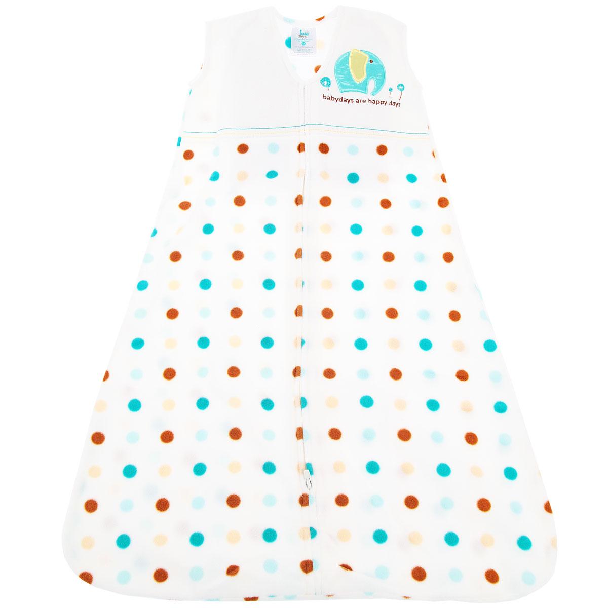 Спальный мешок для новорожденного Babydays Слоненок, цвет: белый. bd20008. Размер S (58/66), 0-6 месяцев0301-402 TND_белый _ 58-66 см.Спальный мешок для новорожденного Babydays Слоненок - это одновременно спальный мешок и теплое уютное одеяло. Мешок выполнен из теплого мягкого микрофлиса (220 г/м) - 100% полиэстера. Изделие отличается высокой прочностью и износостойкостью, материал не линяет, не теряет яркости, сохраняет свой первоначальный вид по мере использования и носки. Модель одевается поверх обычной одежды для сна, обеспечивая максимальный комфорт и безопасность.Мешок без рукавов и с круглым вырезом горловины застегивается на длинную застежку снизу вверх, что делает удобным смену подгузников и не травмирует подбородок. Безрукавный крой снижает риск перегрева. Свободная нижняя часть дает малышу достаточное пространство, чтобы двигать ножками: это необходимо для правильного развития тазобедренного сустава. Оформлено изделие гороховым принтом, а также на груди украшено аппликацией в виде слоника и вышитой надписью на английском языке. Спальный мешок заменяет одеяло, он безопасен и удобен во время сна малыша.