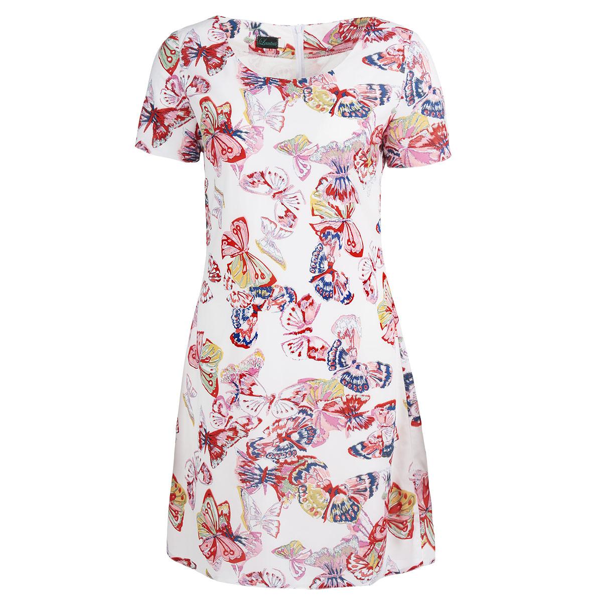 Платье Lautus, цвет: белый, красный, синий. 637. Размер 48637Яркое платье Lautus, выполненное из высококачественного полиэстера с небольшим добавлением эластана, придется по душе любой моднице. Платье приталенного силуэта с круглым вырезом горловины и короткими рукавами оформлено принтом с изображением бабочек. Для максимального комфорта изделие дополнено подкладкой из тонкого эластичного материала. На спинке модель застегивается на потайную молнию. Лаконичный крой и актуальная расцветка - отличный вариант для создания эффектного образа.