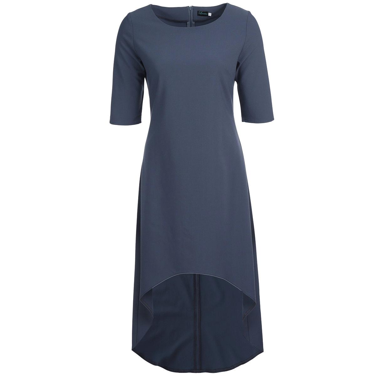 Платье Lautus, цвет: темно-серый. 640. Размер 50640Элегантное платье Lautus изготовлено из плотного материала лаконичного цвета. Платье макси длины с круглым вырезом горловины и рукавами до локтя имеет асимметричную линию подола. На спинке изделие застегивается на потайную молнию. Необычный дизайн модели позволит вам выглядеть стильно и неординарно. Платье лаконичного цвета позволяет дополнять образ всевозможными аксессуарами - шейными платками или яркой бижутерией. Идеальный вариант для создания эффектного образа.