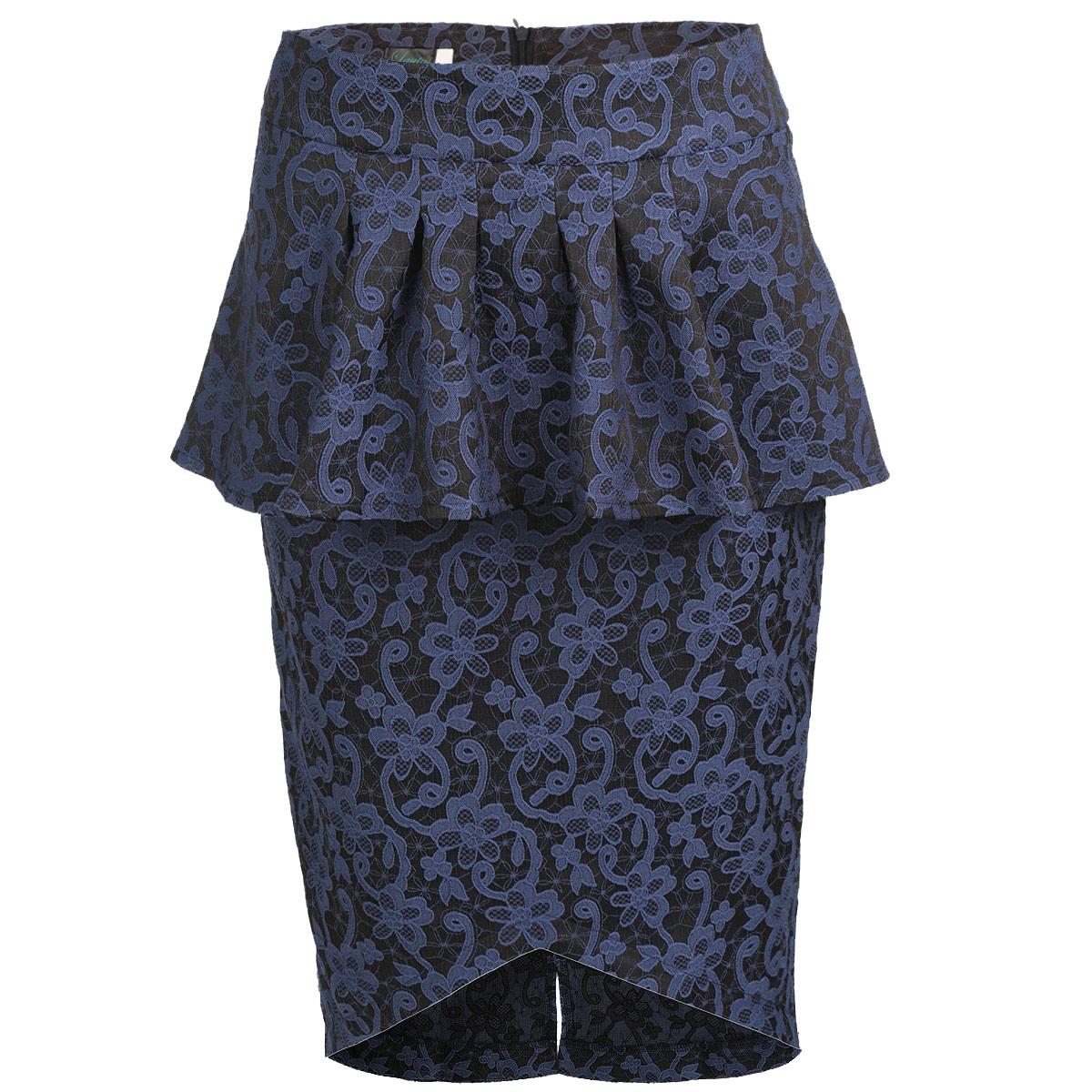 Юбка Lautus, цвет: серый, синий. ю0159. Размер 48ю0159Стильная юбка Lautus изготовлена из плотного эластичного материала с фактурным цветочным узором. Юбка длины миди подчеркнет все достоинства вашей фигуры. Модель на широком пришивном поясе оформлена элегантной баской и имеет асимметричный подол. Сзади юбка застегивается на потайную молнию и дополнена небольшим разрезом. Эта модная юбка - отличный вариант как на каждый день, так и на торжественное мероприятие. Она займет достойное место в вашем гардеробе и подчеркнет ваш безупречный вкус.