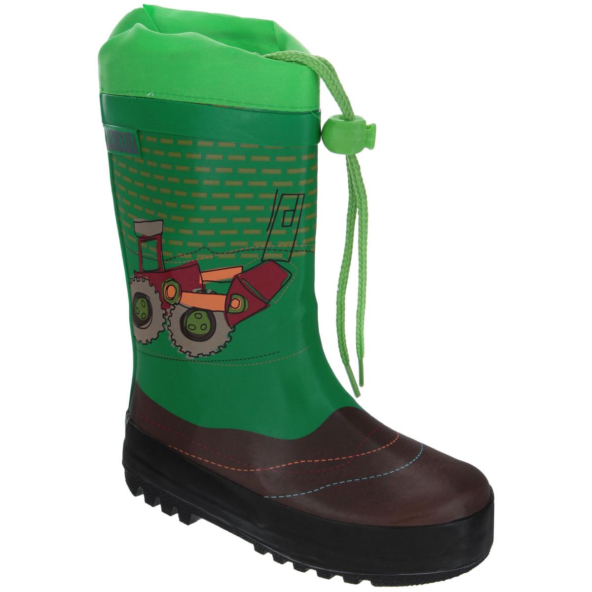Сапоги резиновые для мальчика Аллигаша, цвет: зеленый, черный, коричневый. 13-301. Размер 22 (21)13-301Резиновые сапожки для мальчика Аллигаша - идеальная обувь в дождливую погоду. Сапоги выполнены из качественной резины и оформлены ярким принтом с изображением транспорта, а также логотипом бренда. Подкладка, выполненная из текстиля, подарит ощущение комфорта вашему ребенку. Главным преимуществом резиновых сапожек является наличие съемного текстильного носочка, что позволяет носить сапожки не только дождливым летом, но и сыройпрохладной осенью. Текстильный верх голенища регулируется в объеме за счет шнурка со стоппером.Резиновые сапожки прекрасно защитят ножки вашего ребенка от промокания в дождливый день.