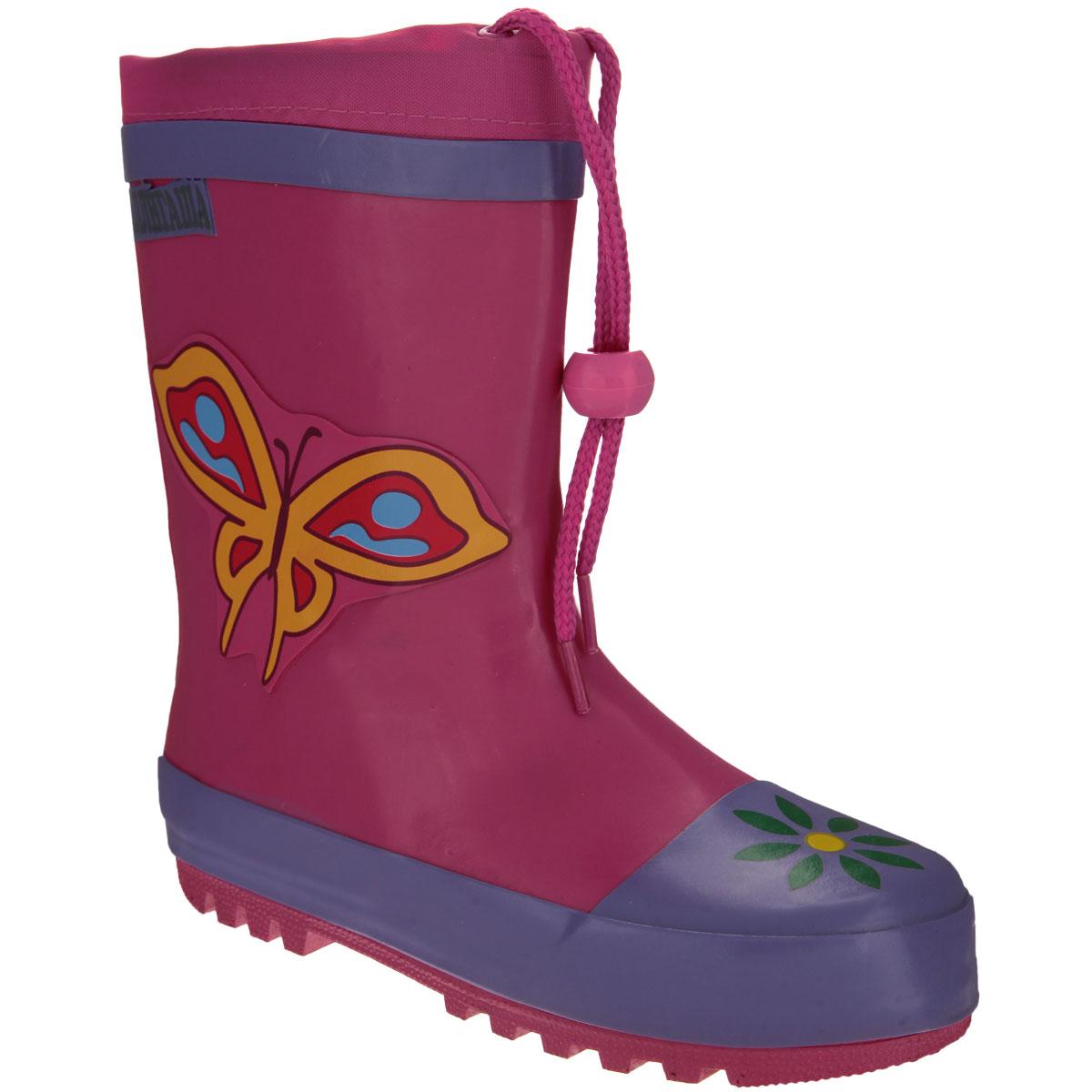 Сапоги резиновые для девочки Аллигаша, цвет: розовый, сиреневый. 13-303. Размер 2813-303Резиновые сапожки для девочки Аллигаша - идеальная обувь в дождливую погоду. Сапоги выполнены из качественной резины и оформлены аппликацией в виде бабочки, а также логотипом бренда. Подкладка, выполненная из текстиля, подарит ощущение комфорта вашему ребенку. Главным преимуществом резиновых сапожек является наличие съемного текстильного носочка, что позволяет носить сапожки не только дождливым летом, но и сыройпрохладной осенью. Текстильный верх голенища регулируется в объеме за счет шнурка со стоппером.Резиновые сапожки прекрасно защитят ножки вашего ребенка от промокания в дождливый день.