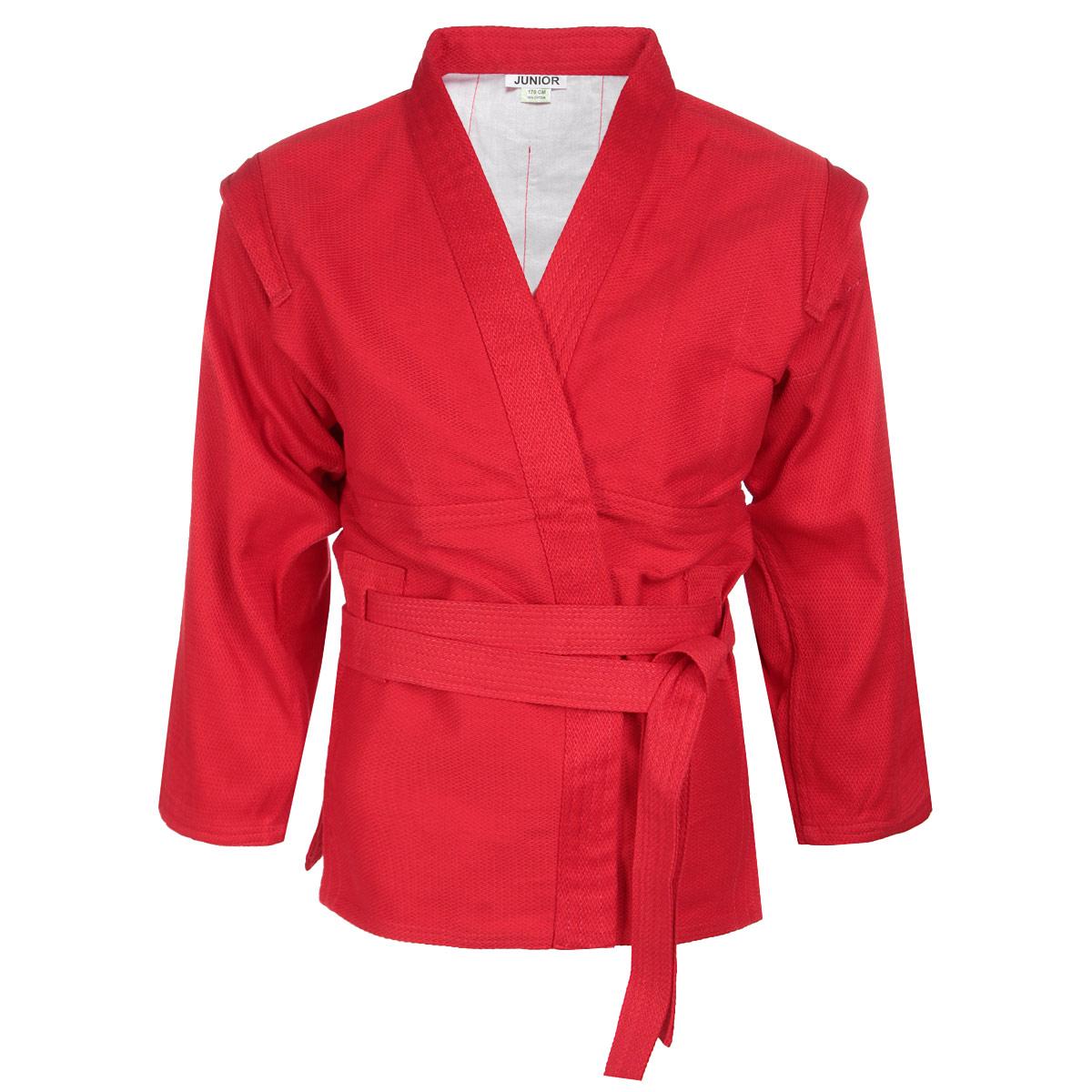 Кимоно детское для самбо Green Hill Junior, цвет: красный. SСJ-2201. Размер 150SСJ-2201Детское кимоно для самбо Green Hill Junior с глубоким запахом, боковыми разрезами и длинным рукавом изготовлено из плотного хлопка (плотность 300 г/м2) с плетением елочка.На изнаночной стороне для максимального комфорта до линии талии предусмотрена хлопковая подкладка. Боковые швы, края рукавов и полочек, низ изделия укреплены дополнительными строчками. Модель укреплена в подмышечной области. В области верхней части спины имеет особые прорези, в которые вставляется пояс, на плечах добавлены выступающие крылышки, предназначенные для выполнения захватов. Длинный плотный пояс укреплен многорядной прострочкой.