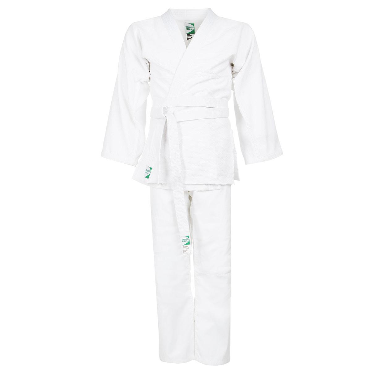 Кимоно для дзюдо Green Hill Adult, цвет: белый. JSA-10429. Размер 200JSA-10429Кимоно для дзюдо Green Hill Adult состоит из рубашки и брюк. Просторная рубашка с запахом, боковыми разрезами и длинными рукавами-кимоно изготовлена из плотного хлопка с фактурным плетением. Боковые швы, края рукавов и полочек, низ рубашки укреплены дополнительными строчками и крепкой лентой с внутренней стороны. Просторные брюки особого покроя на поясе с затягивающимся шнурком для фиксации на талии имеют шлевки для дополнительного пояса и укреплены на коленях. Кимоно отлично подходит тренировок в зале и на соревнованиях.